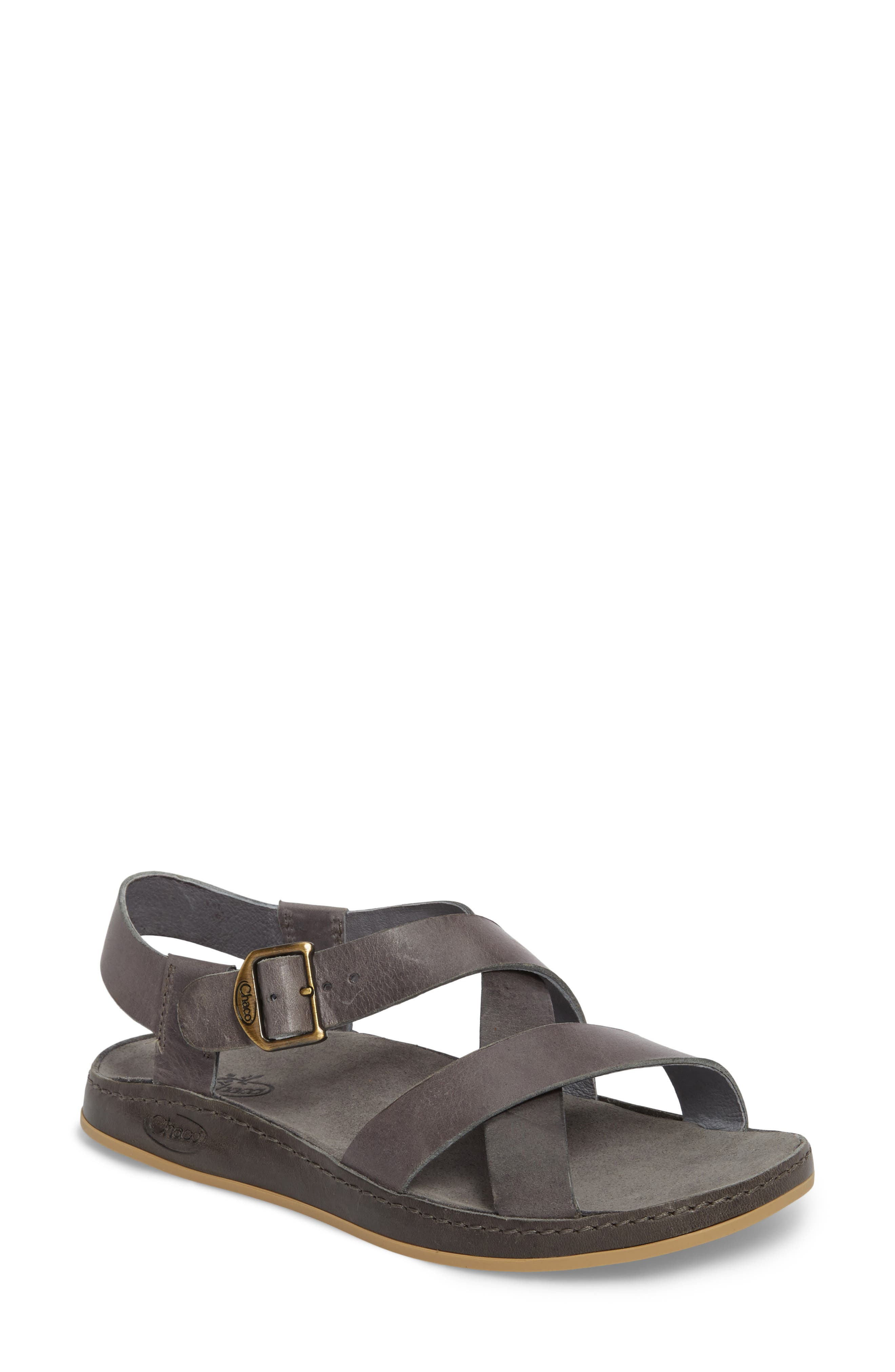 Strappy Sandal,                         Main,                         color, GREY LEATHER