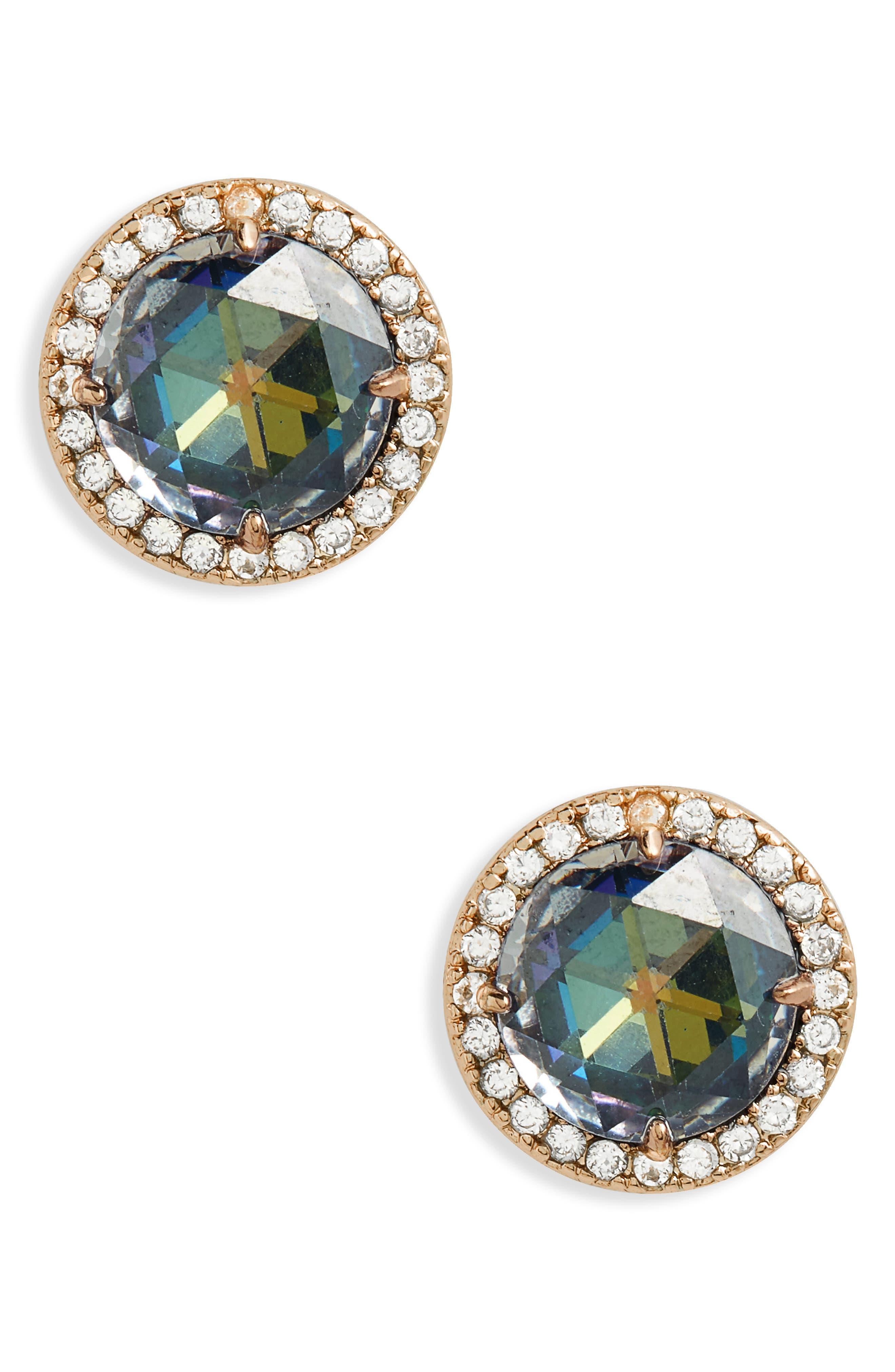 bright ideas pavé halo stud earrings,                         Main,                         color, NAVY
