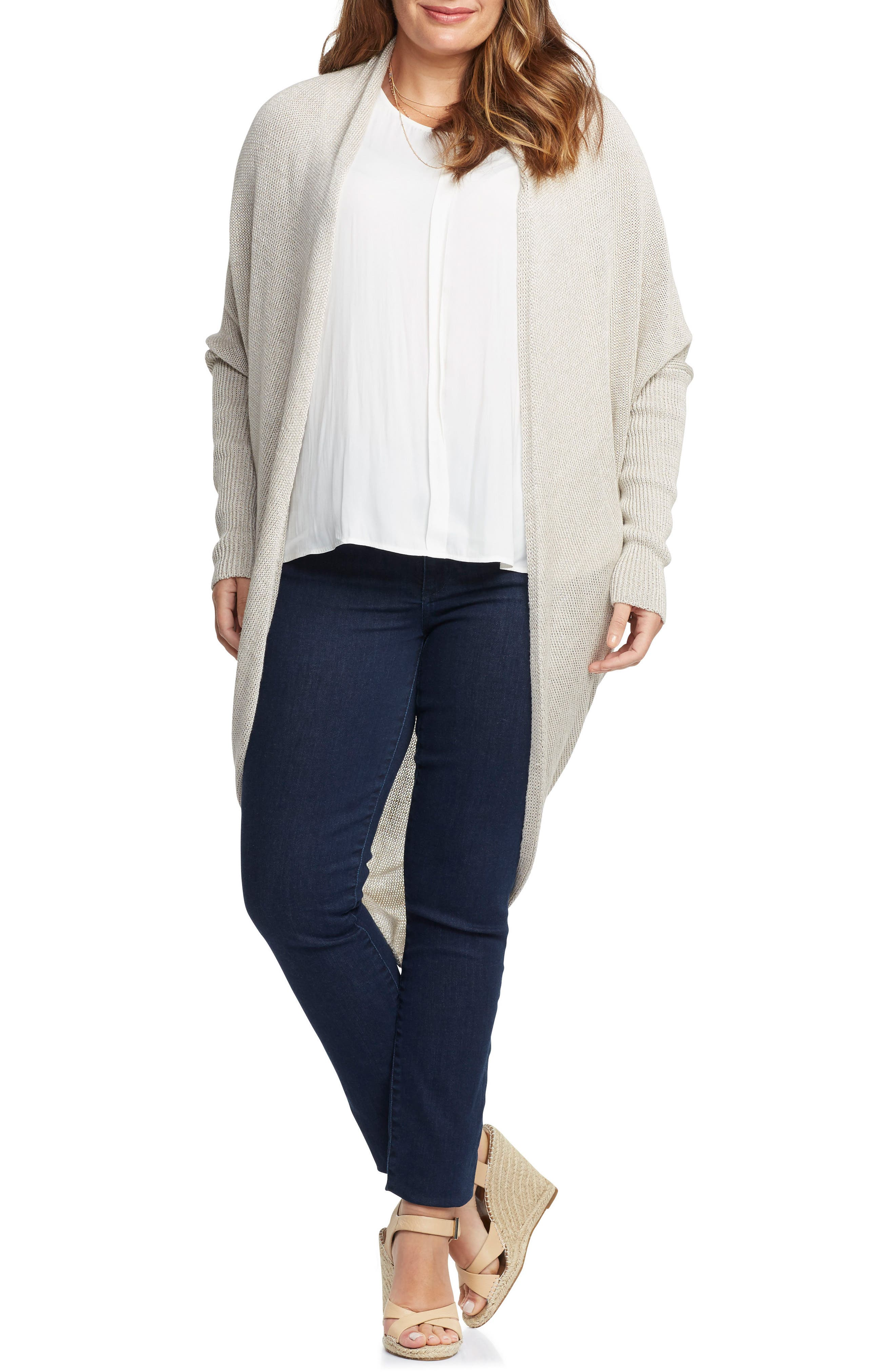 Darla Linen Blend Open Cardigan,                         Main,                         color, LIGHT TAN