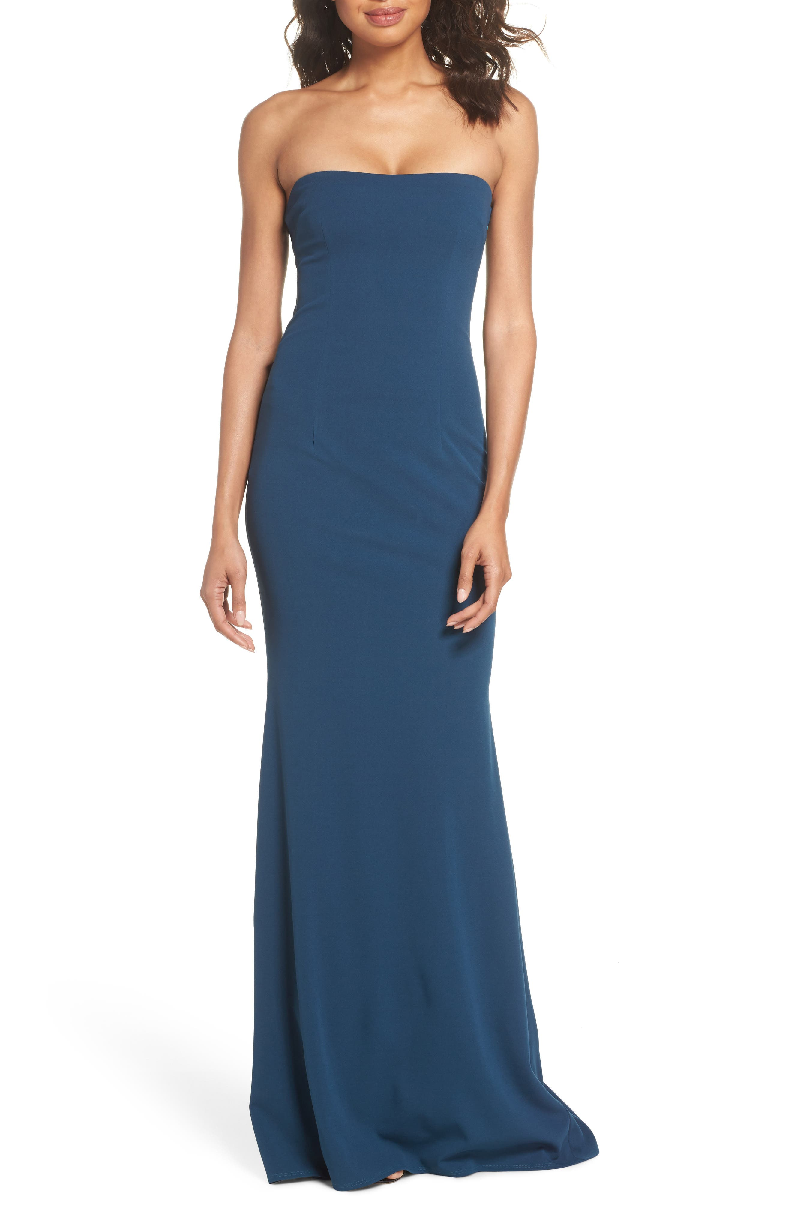 Mary Kate Strapless Cutout Back Gown,                         Main,                         color, TEAL
