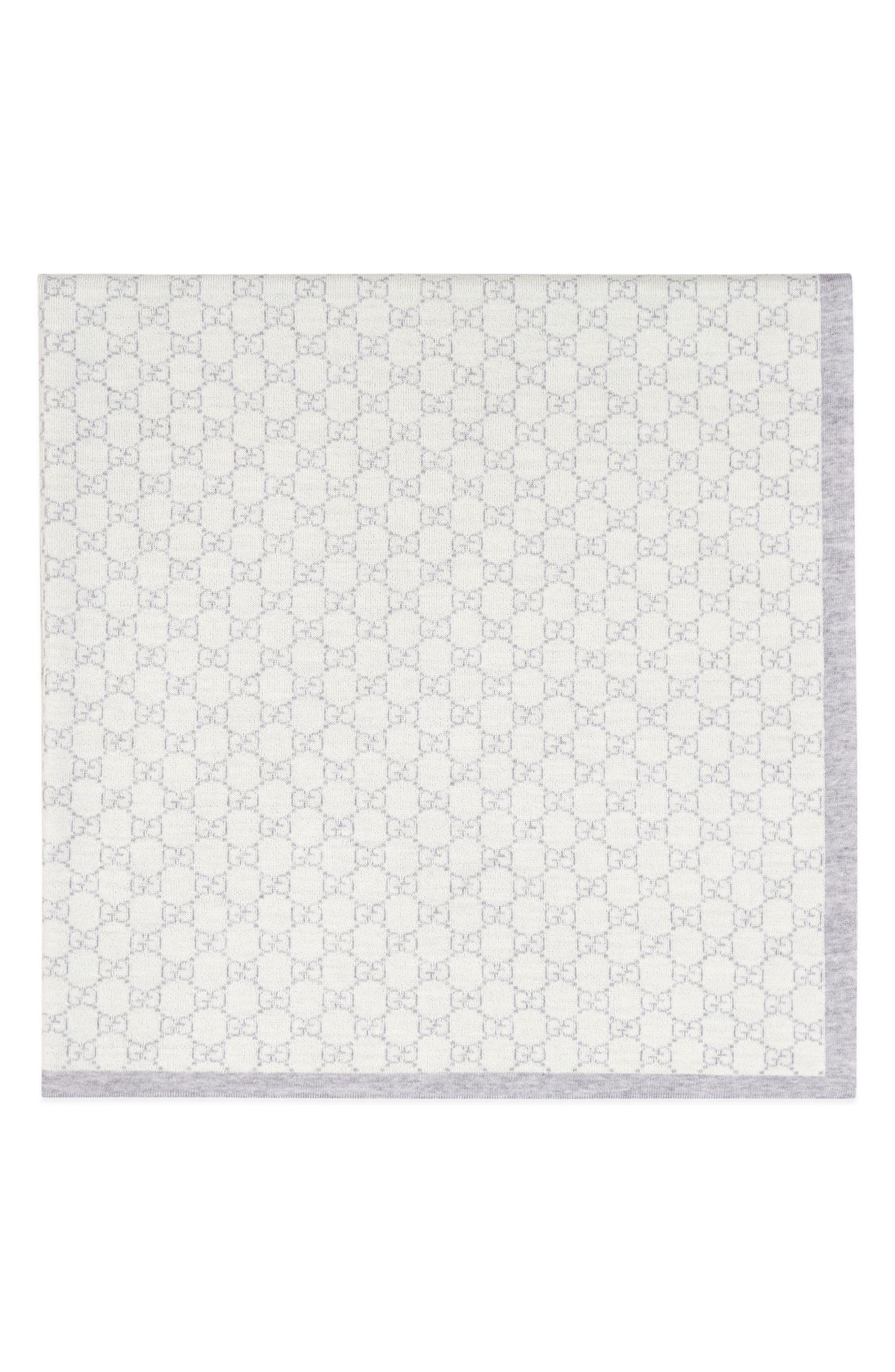 Wool Baby Blanket,                             Alternate thumbnail 6, color,                             IVORY/ SKY BLUE