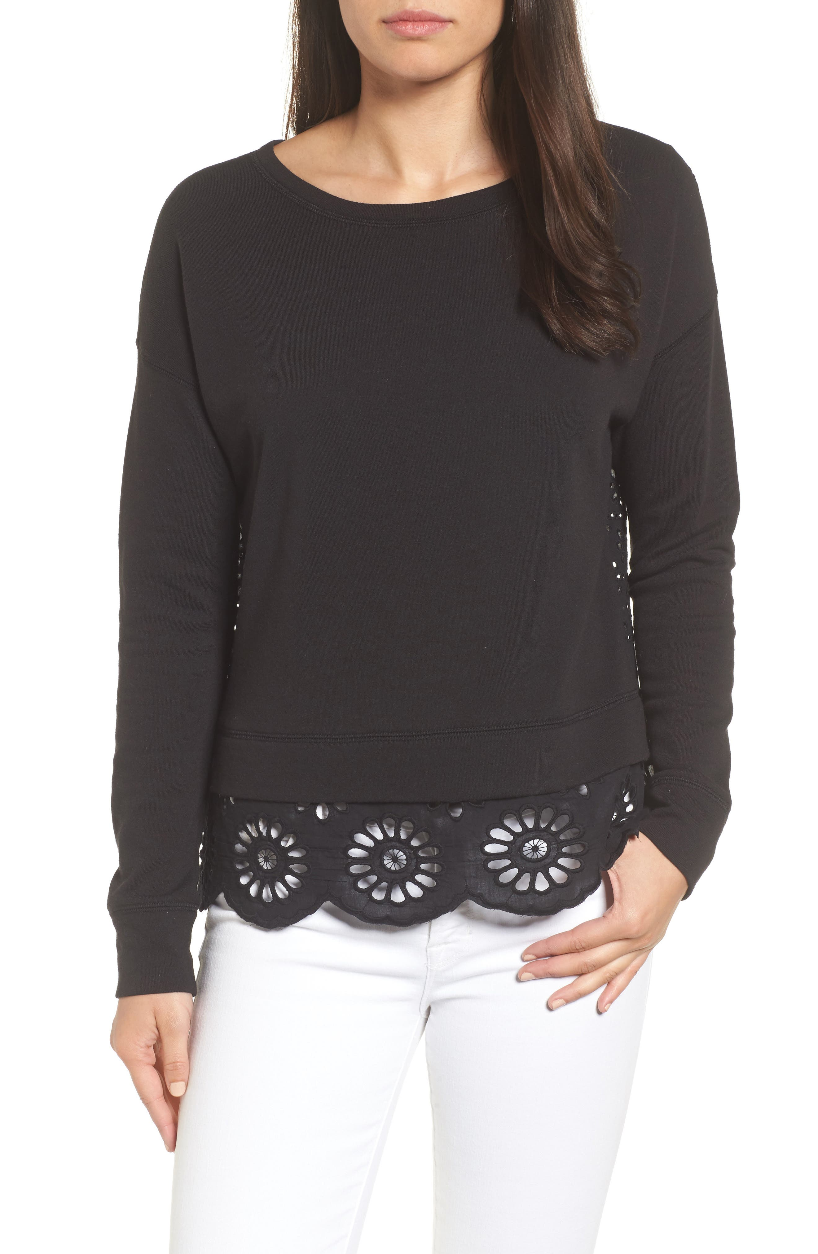 Eyelet Trim Sweatshirt,                         Main,                         color, 001