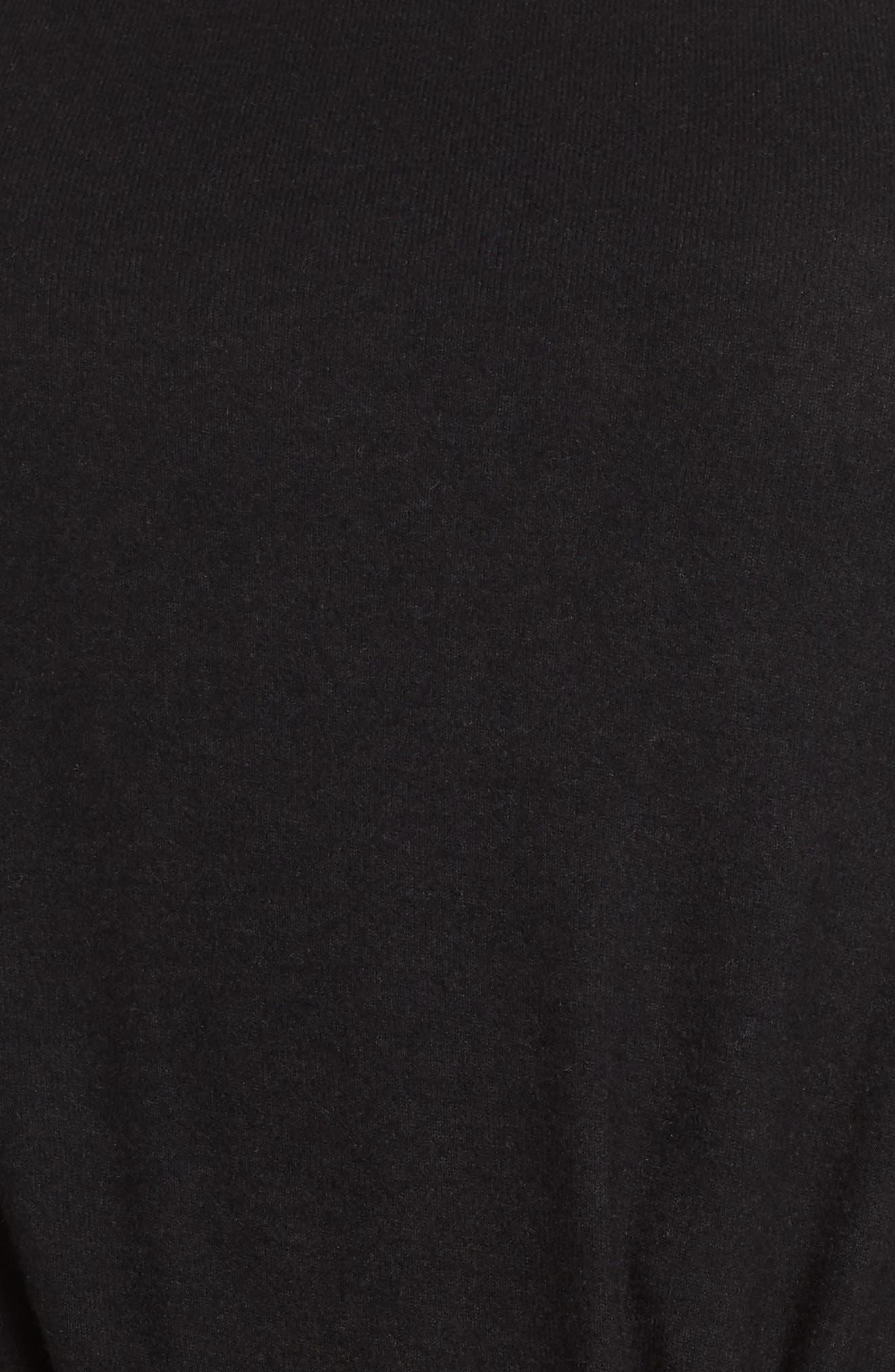Twist Front Cozy Pullover,                             Alternate thumbnail 5, color,                             BLACK