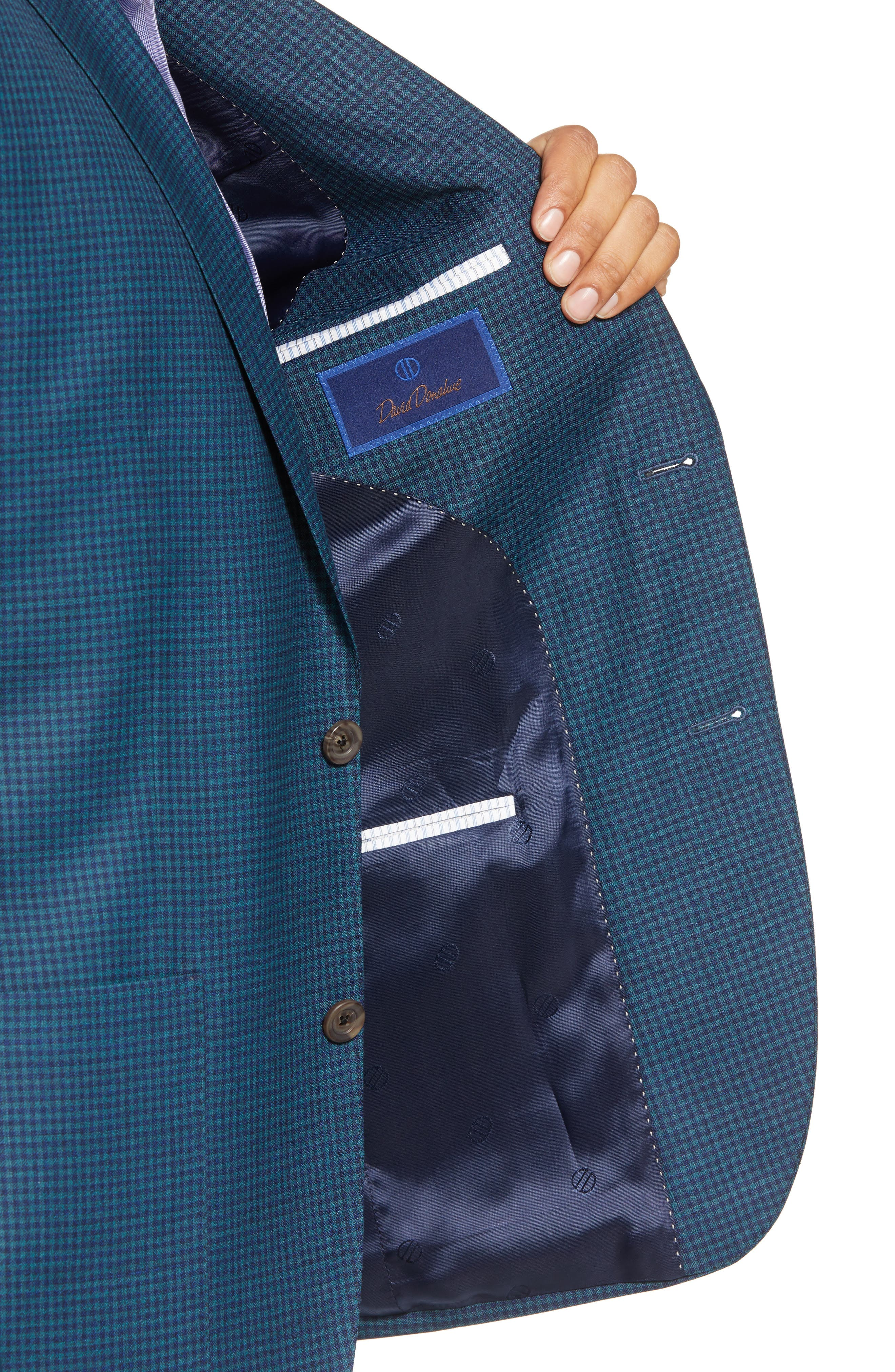 Aiden Classic Fit Check Wool Sport Coat,                             Alternate thumbnail 4, color,                             GREEN