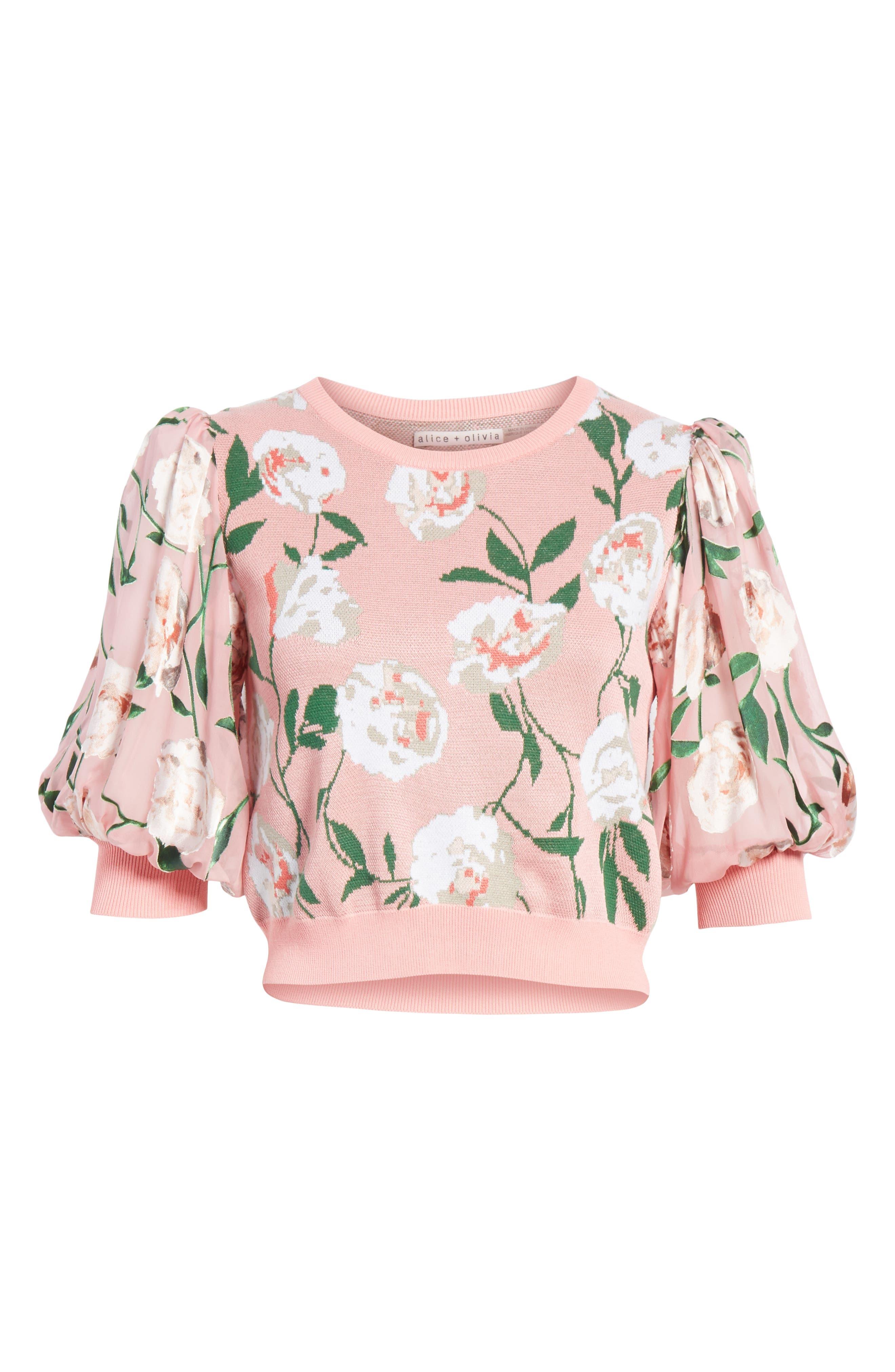Brandy Floral Puff Crop Sweater,                             Alternate thumbnail 6, color,                             PEONY GARDEN WALL/ BUBBLEGUM