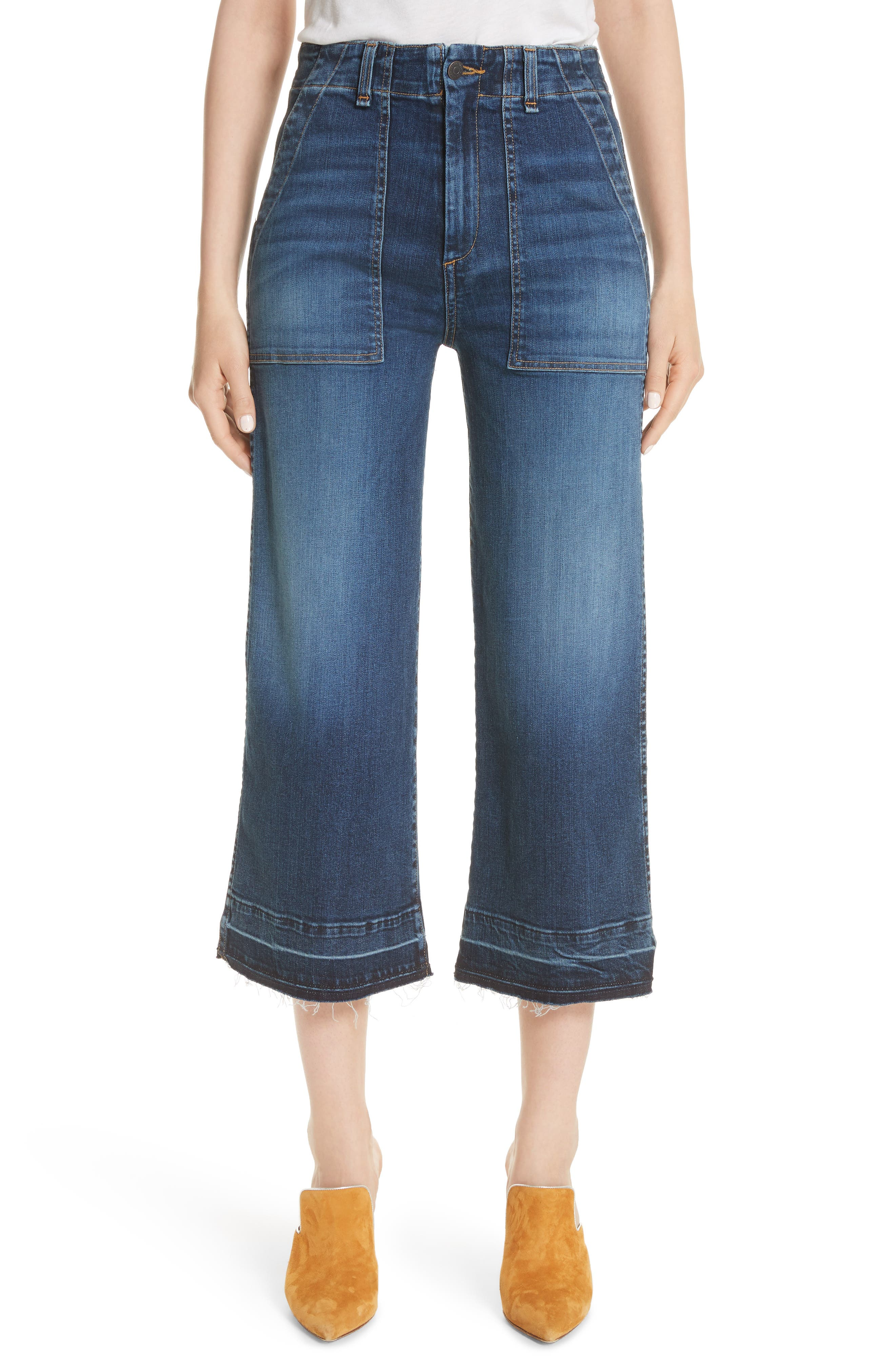 Lou Released Hem Gaucho Jeans,                             Main thumbnail 1, color,                             411