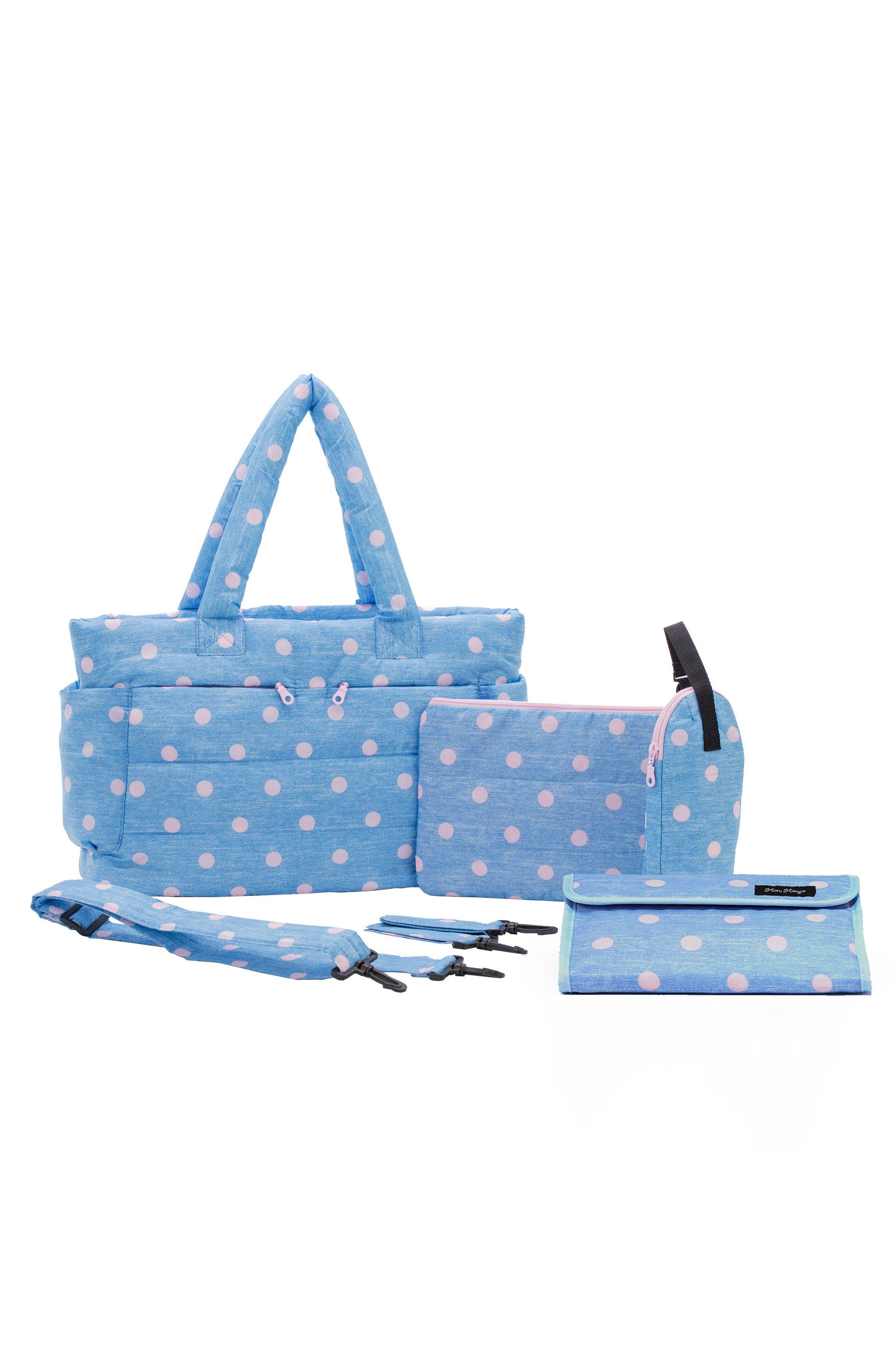 Print Classic Water Repellent Diaper Bag,                             Alternate thumbnail 2, color,                             DENIM PINK DOT