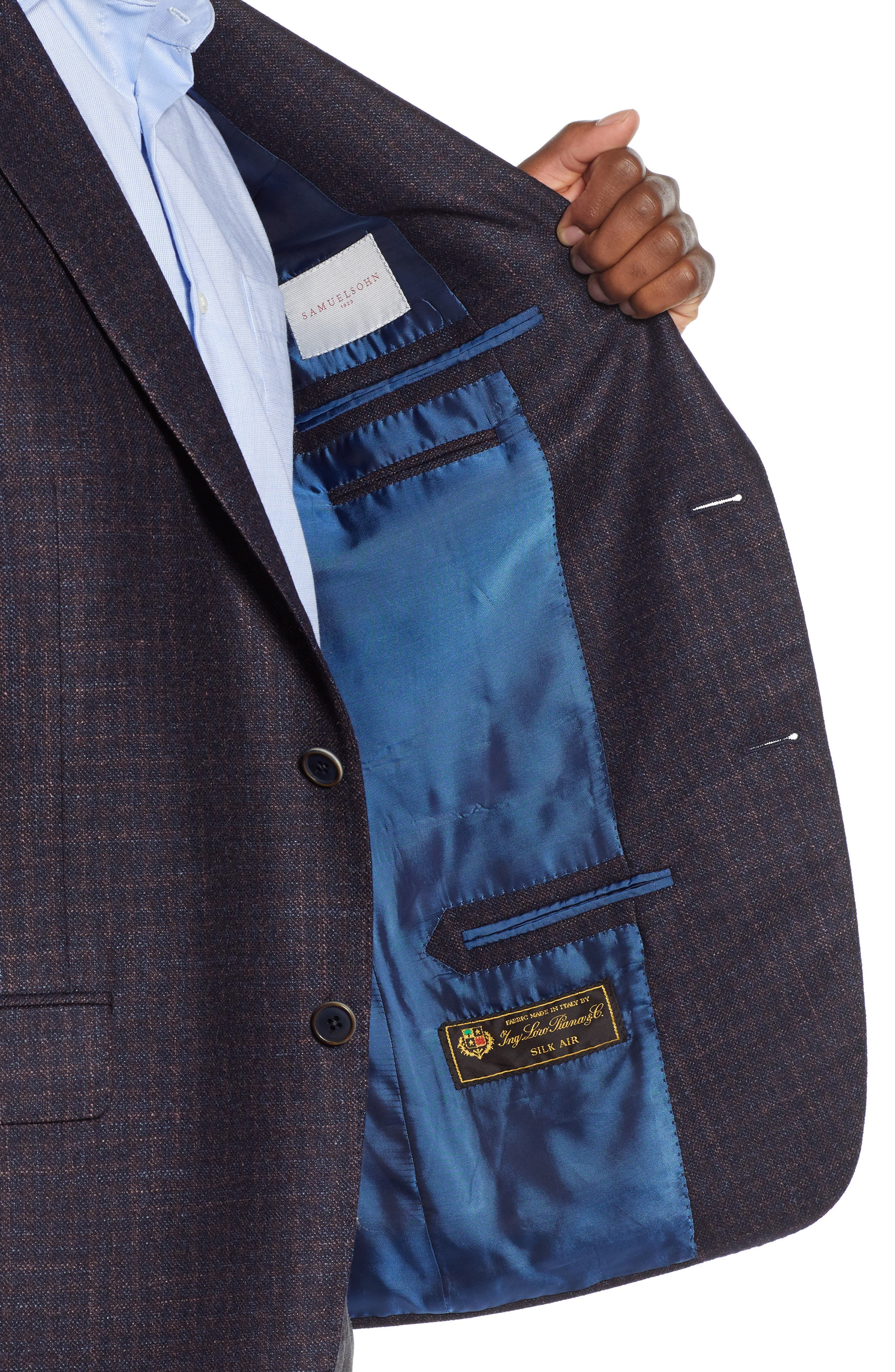 Classic Fit Wool Blazer,                             Alternate thumbnail 4, color,                             NAVY/ BERRY