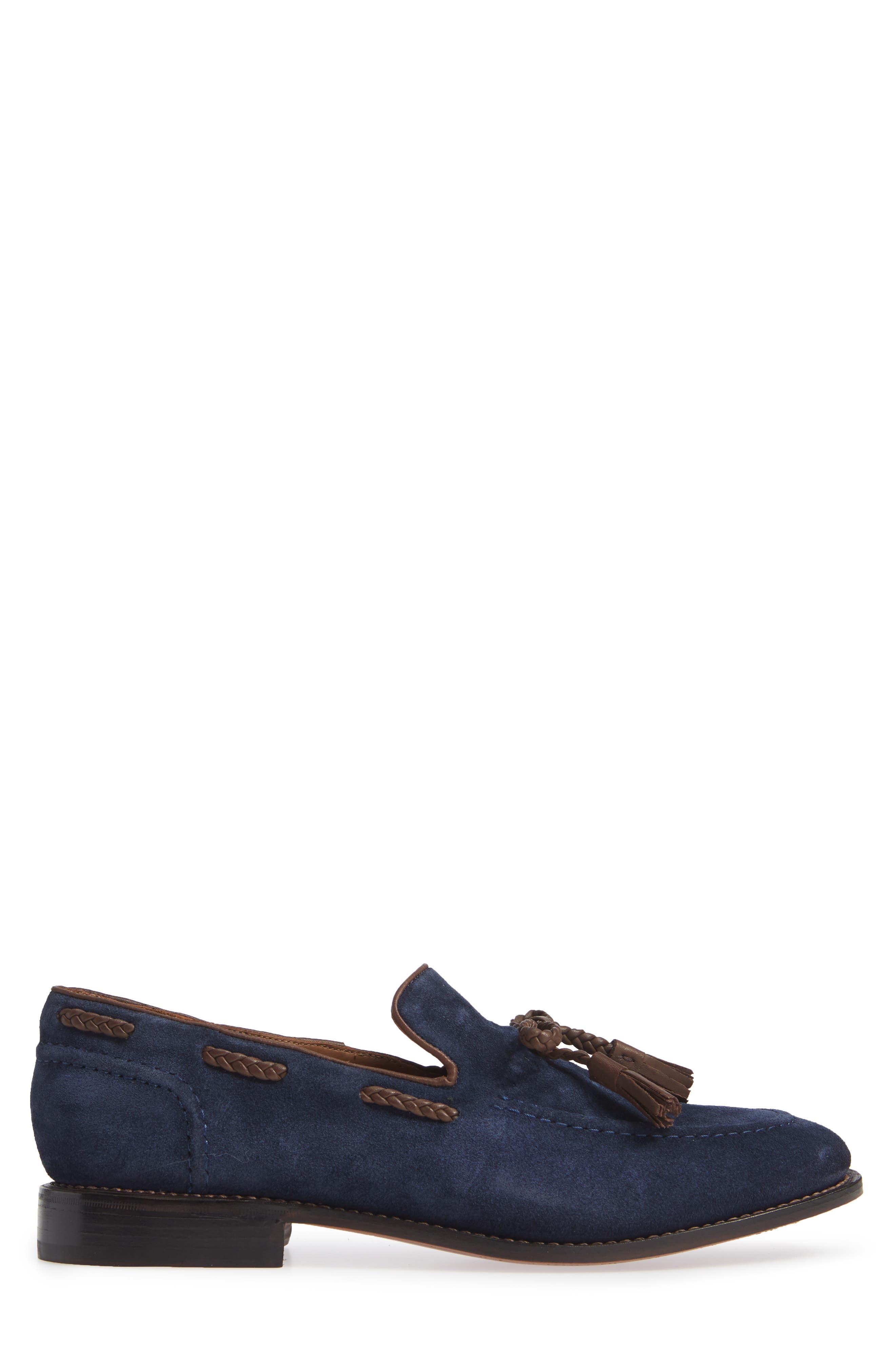 Braided Tassel Loafer,                             Alternate thumbnail 3, color,                             NAVY SUEDE