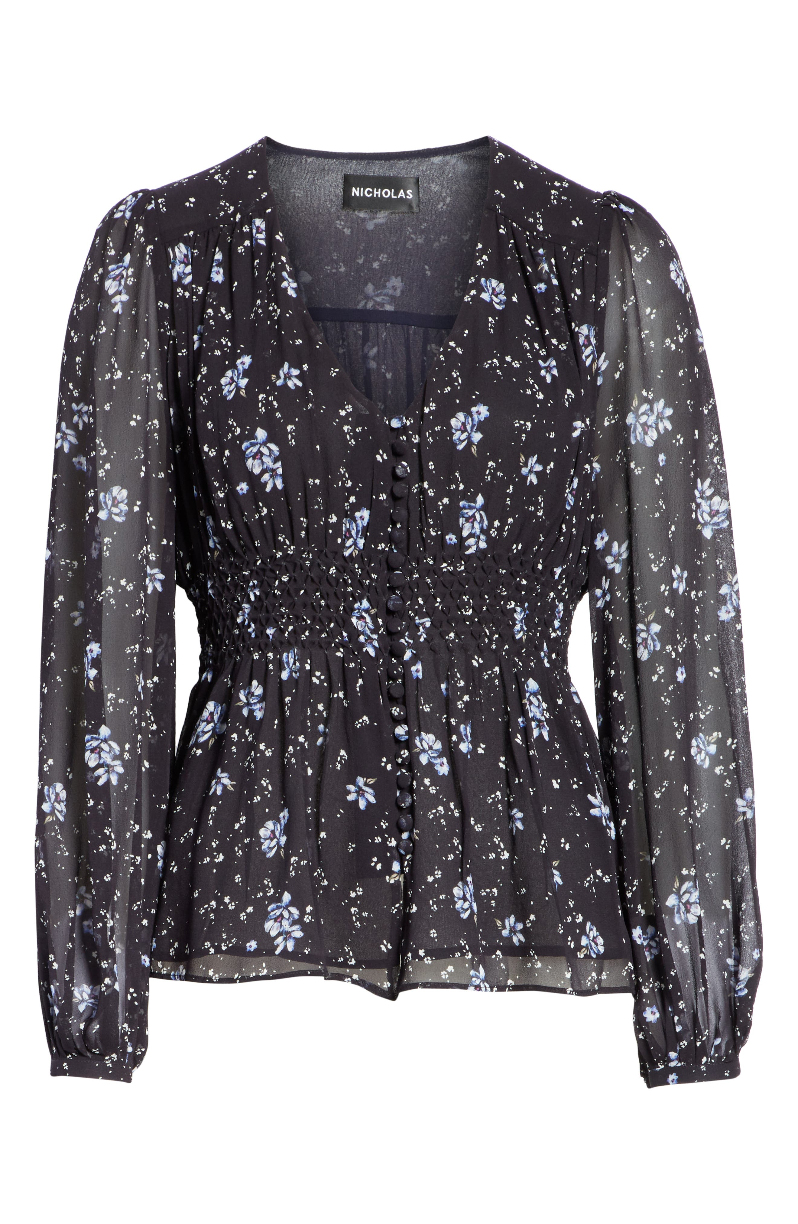 Ditsy Floral Print Silk Blouse,                             Alternate thumbnail 6, color,                             NAVY