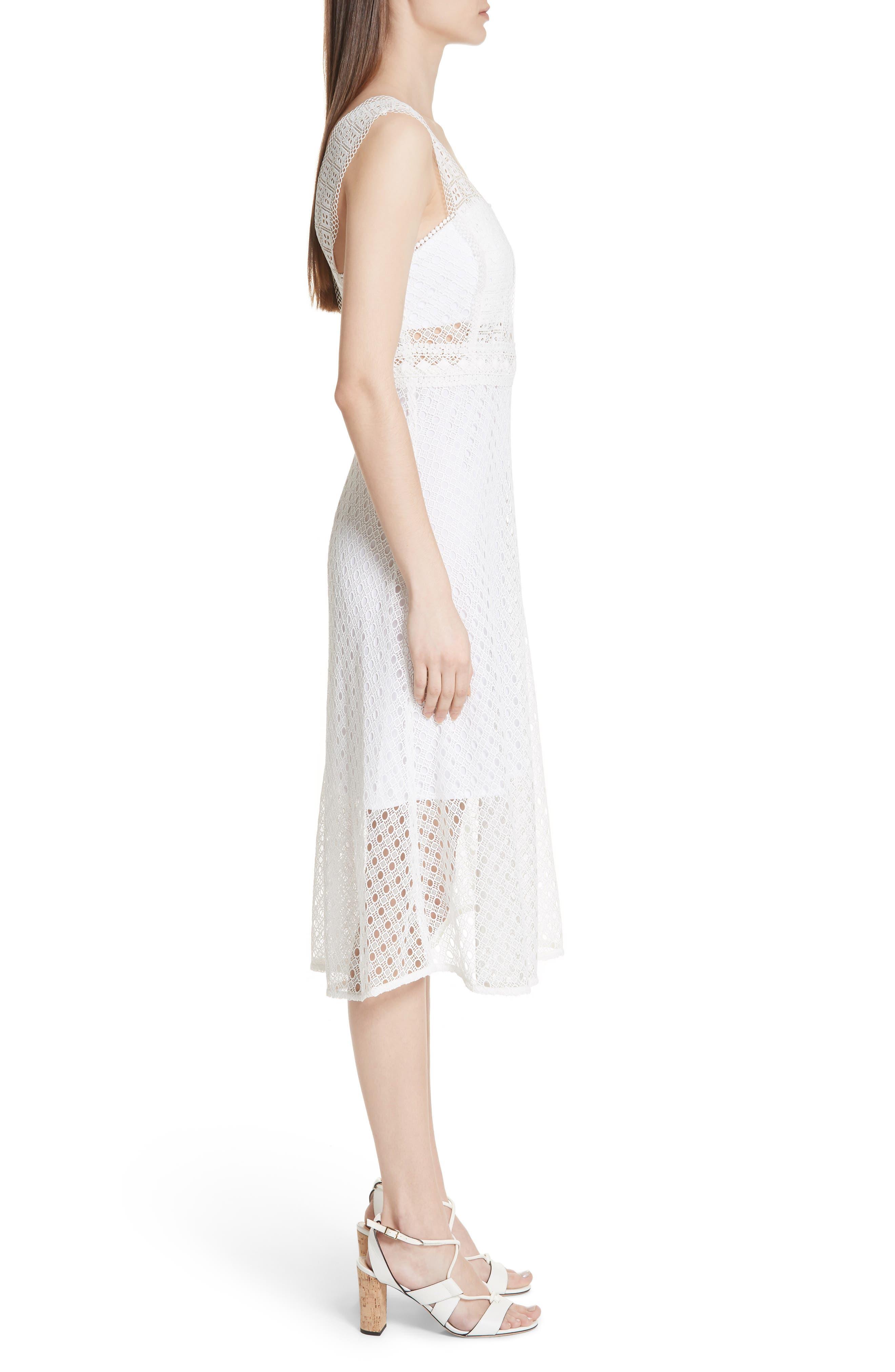 Blanc Lace Square Neck Dress,                             Alternate thumbnail 3, color,                             100