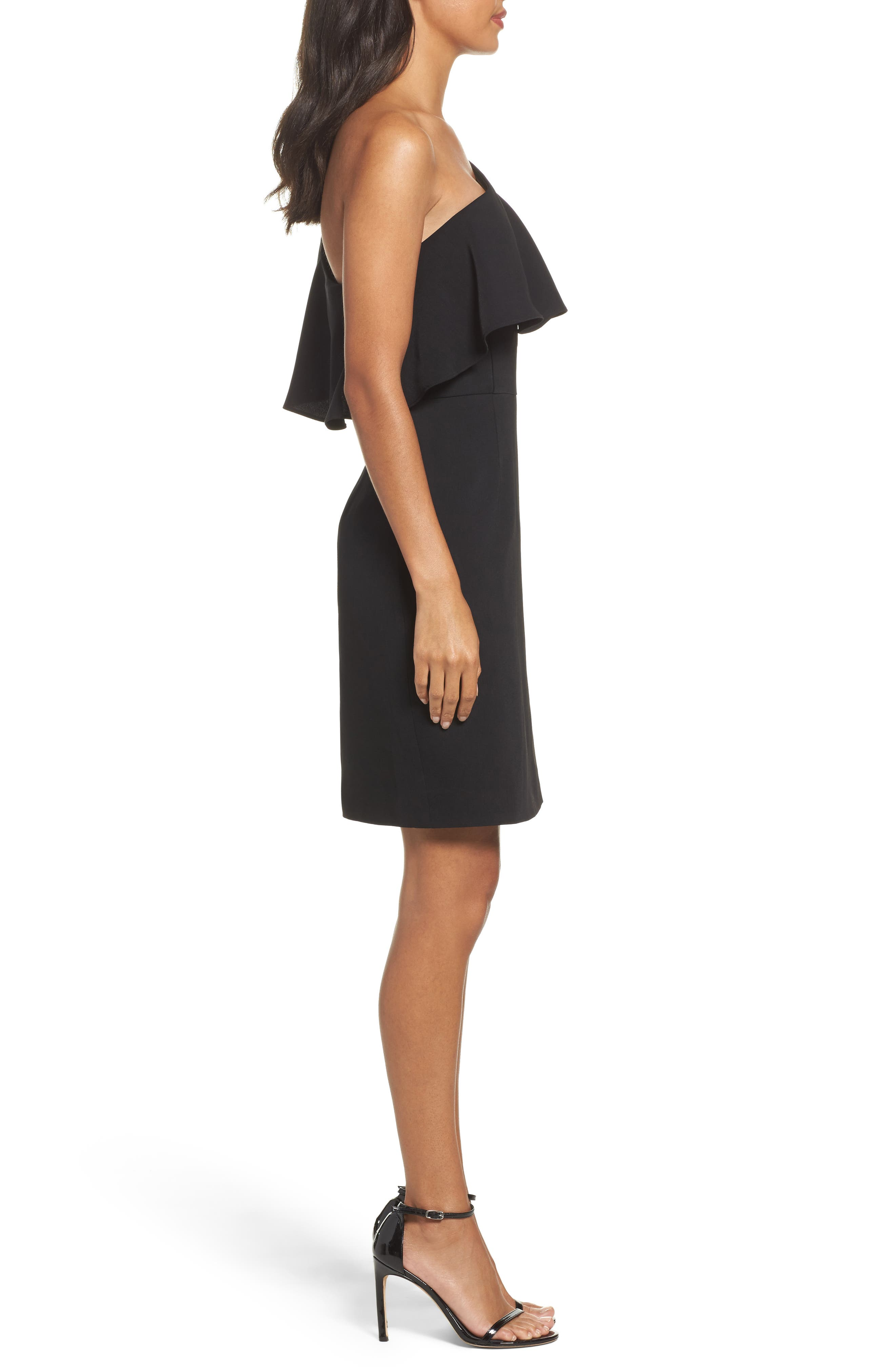 Cale One-Shoulder Crepe Sheath Dress,                             Alternate thumbnail 3, color,                             001
