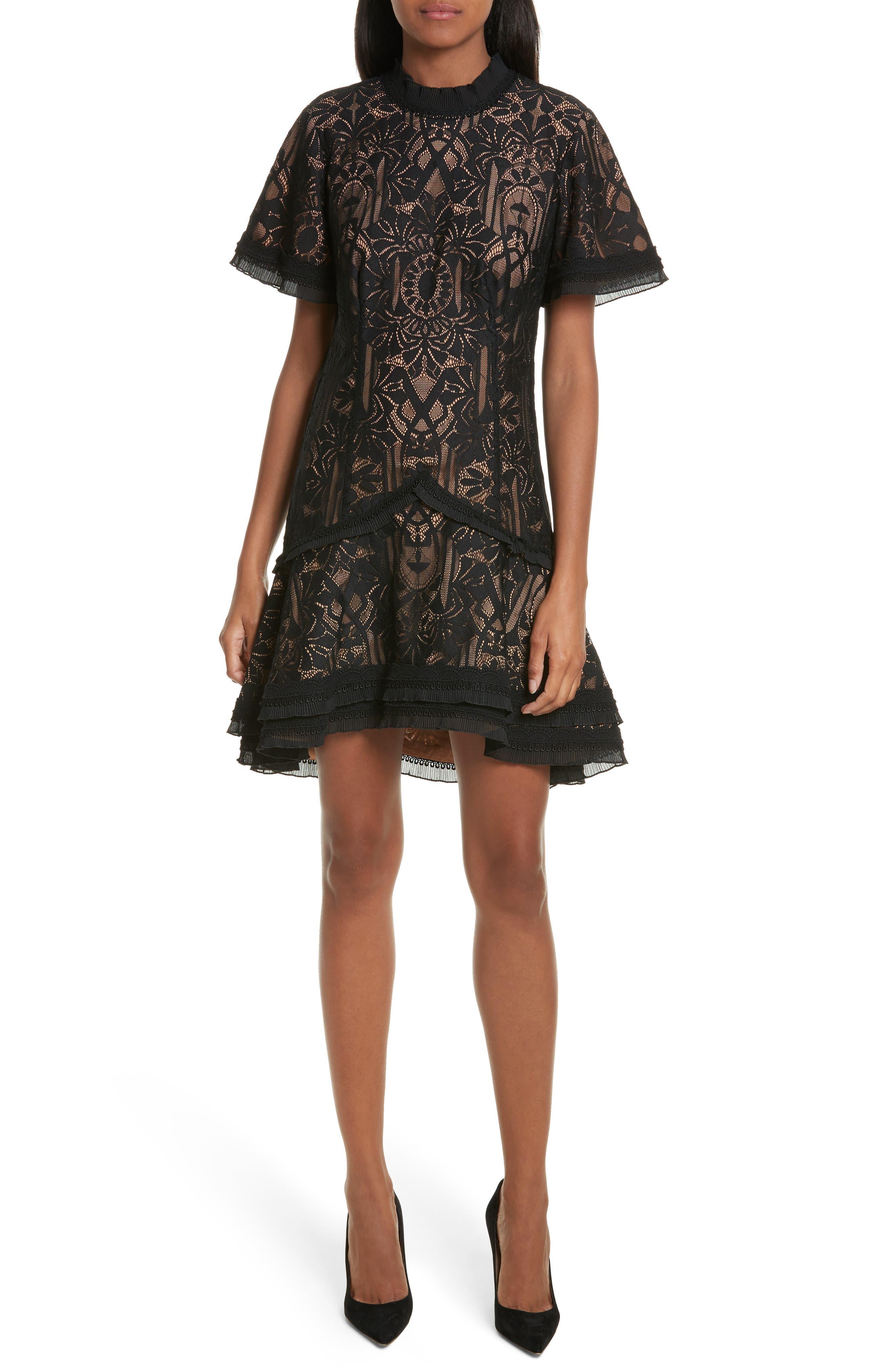 Tower Mesh Lace Ruffle Minidress,                         Main,                         color, 001