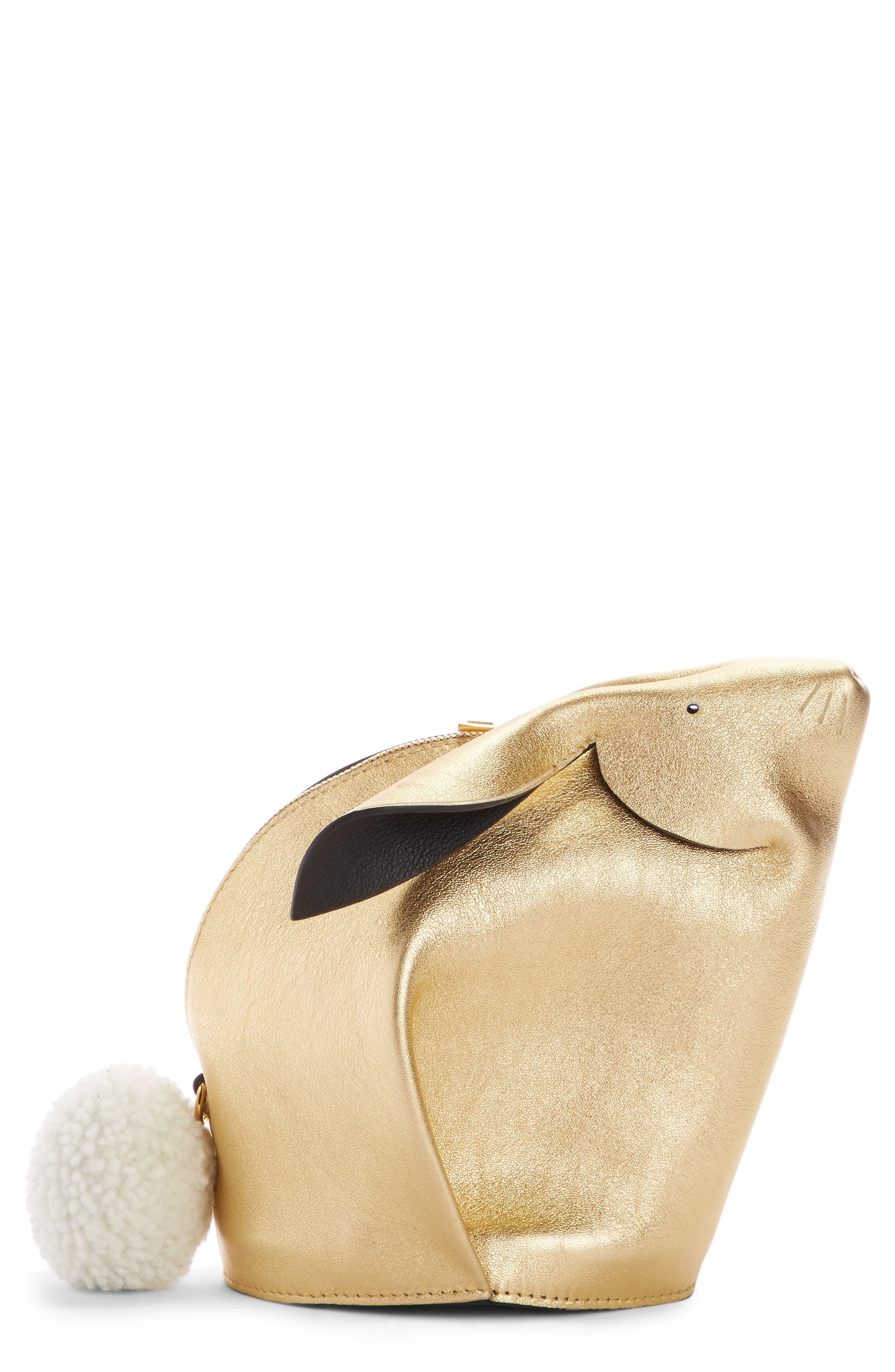 Mini Bunny Metallic Leather Crossbody Bag with Genuine Shearling Trim,                         Main,                         color, 710