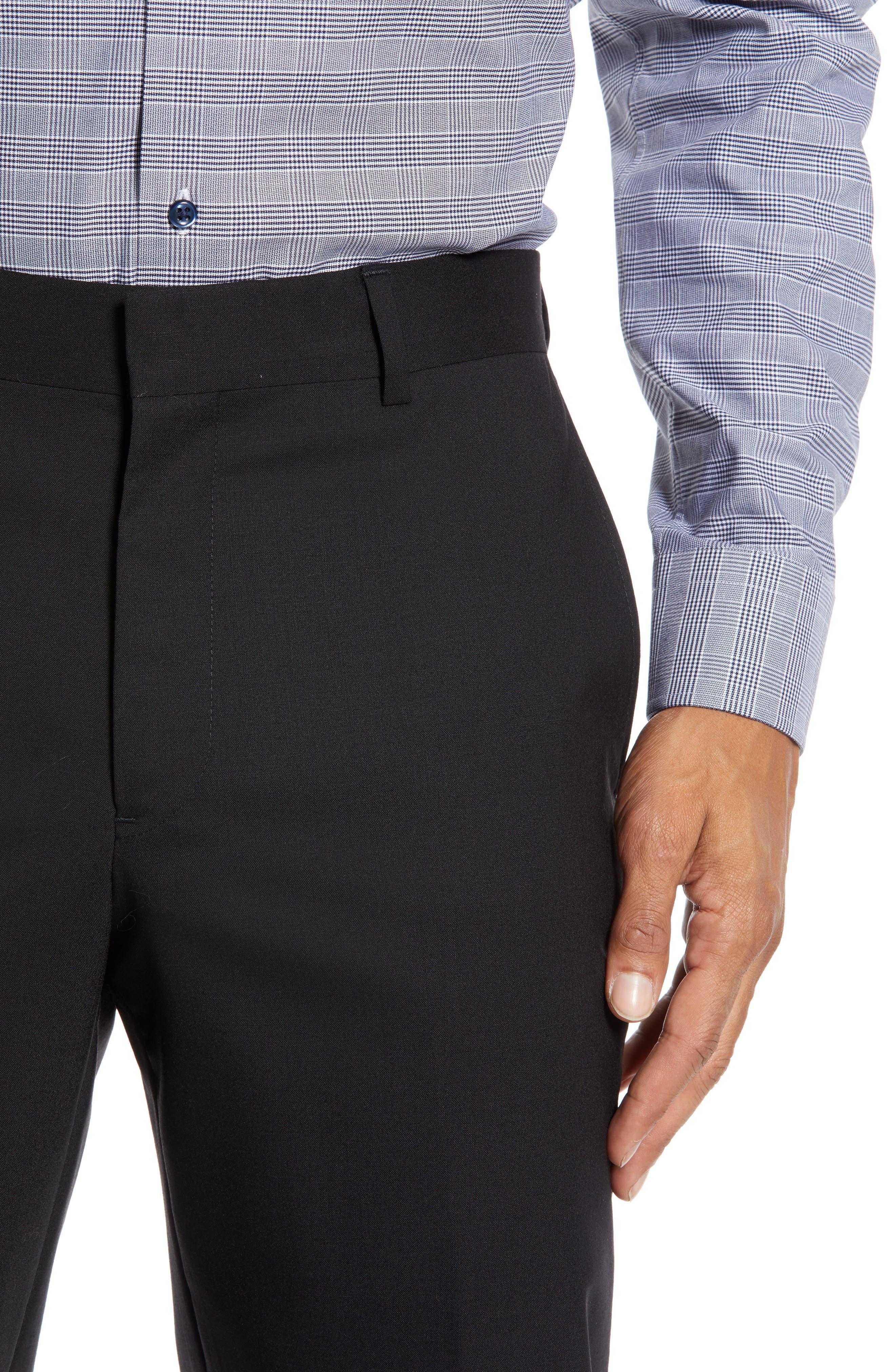 NORDSTROM MEN'S SHOP,                             Tech-Smart Trim Fit Stretch Wool Travel Trousers,                             Alternate thumbnail 4, color,                             BLACK