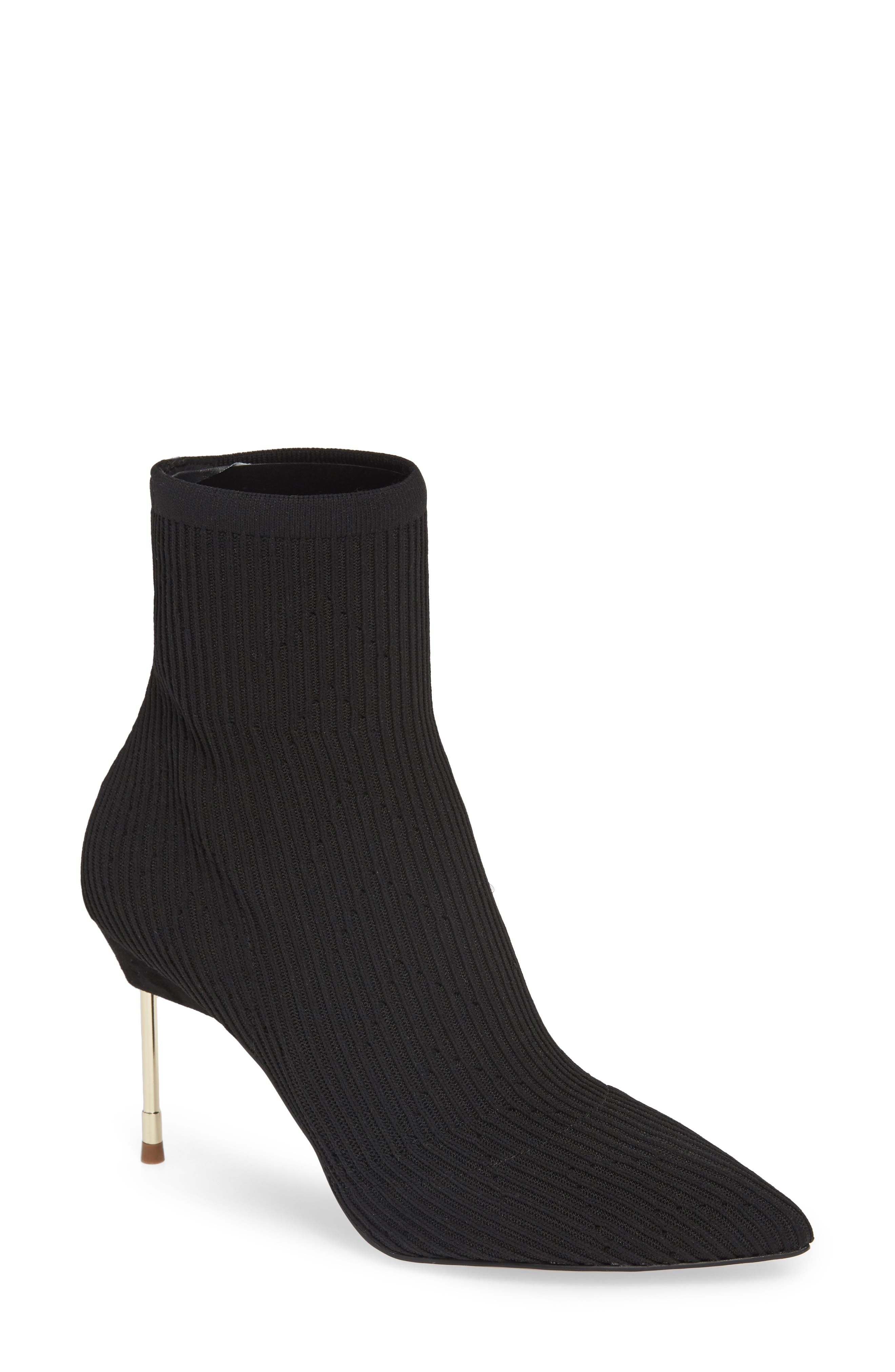 KURT GEIGER Women'S Barbican Pointed Toe Knit Booties in Black Knit
