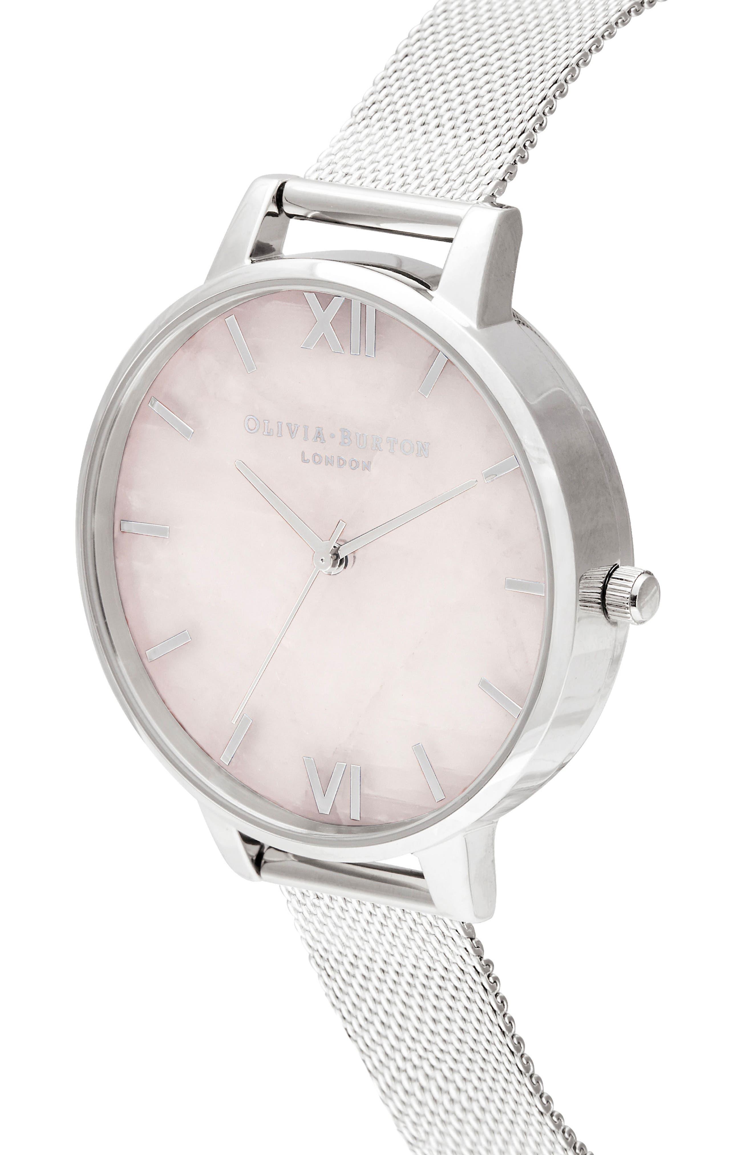 Bracelet Watch, 30mm,                             Alternate thumbnail 4, color,                             SILVER/ ROSE QUARTZ/ SILVER