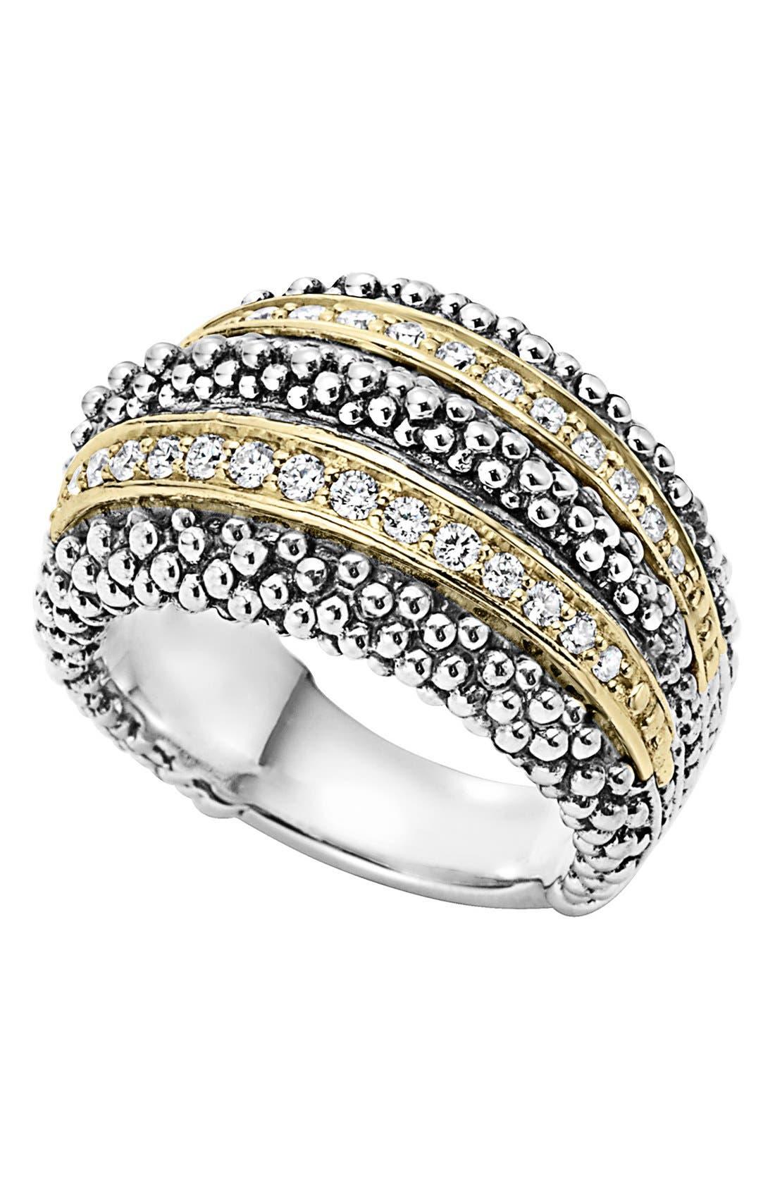 Diamond Caviar Beaded Ring,                             Main thumbnail 1, color,                             SILVER/ GOLD