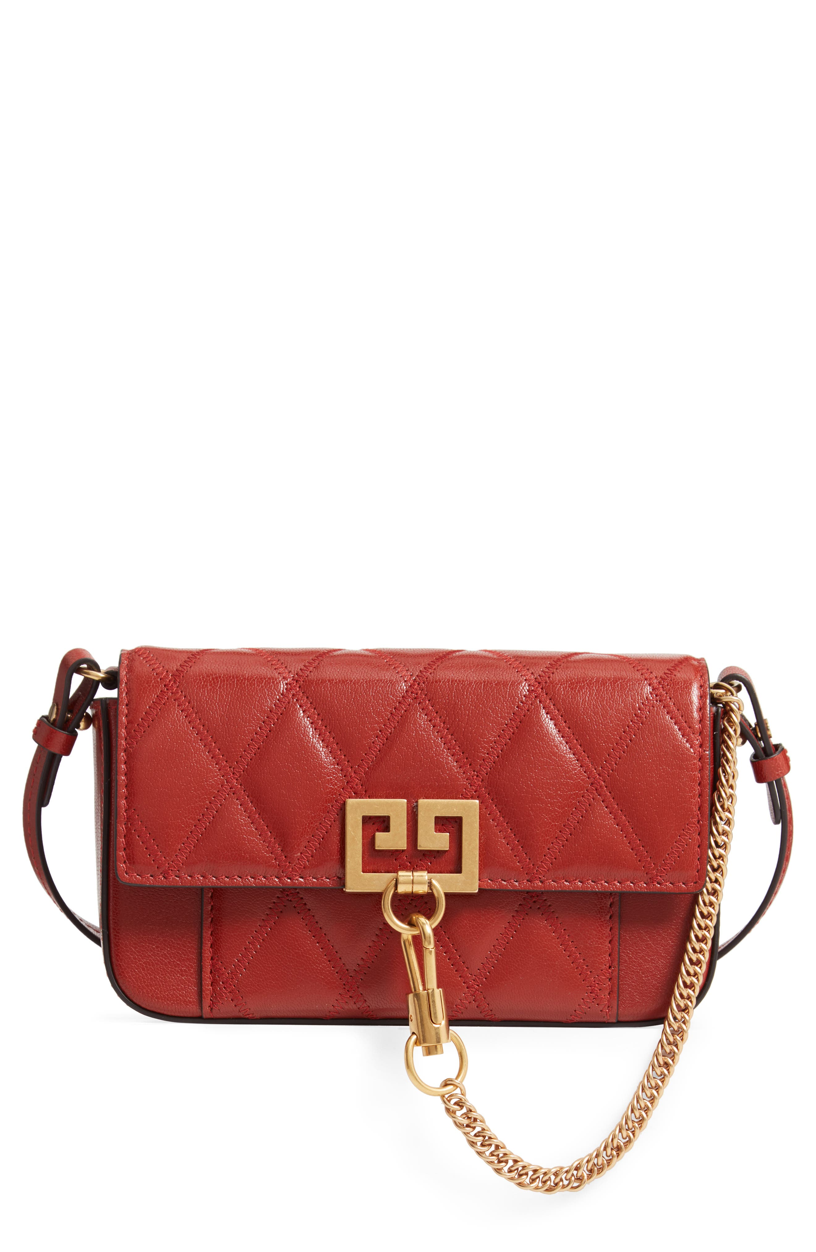 Mini Pocket Quilted Convertible Leather Bag,                             Main thumbnail 1, color,                             TERRACOTTA