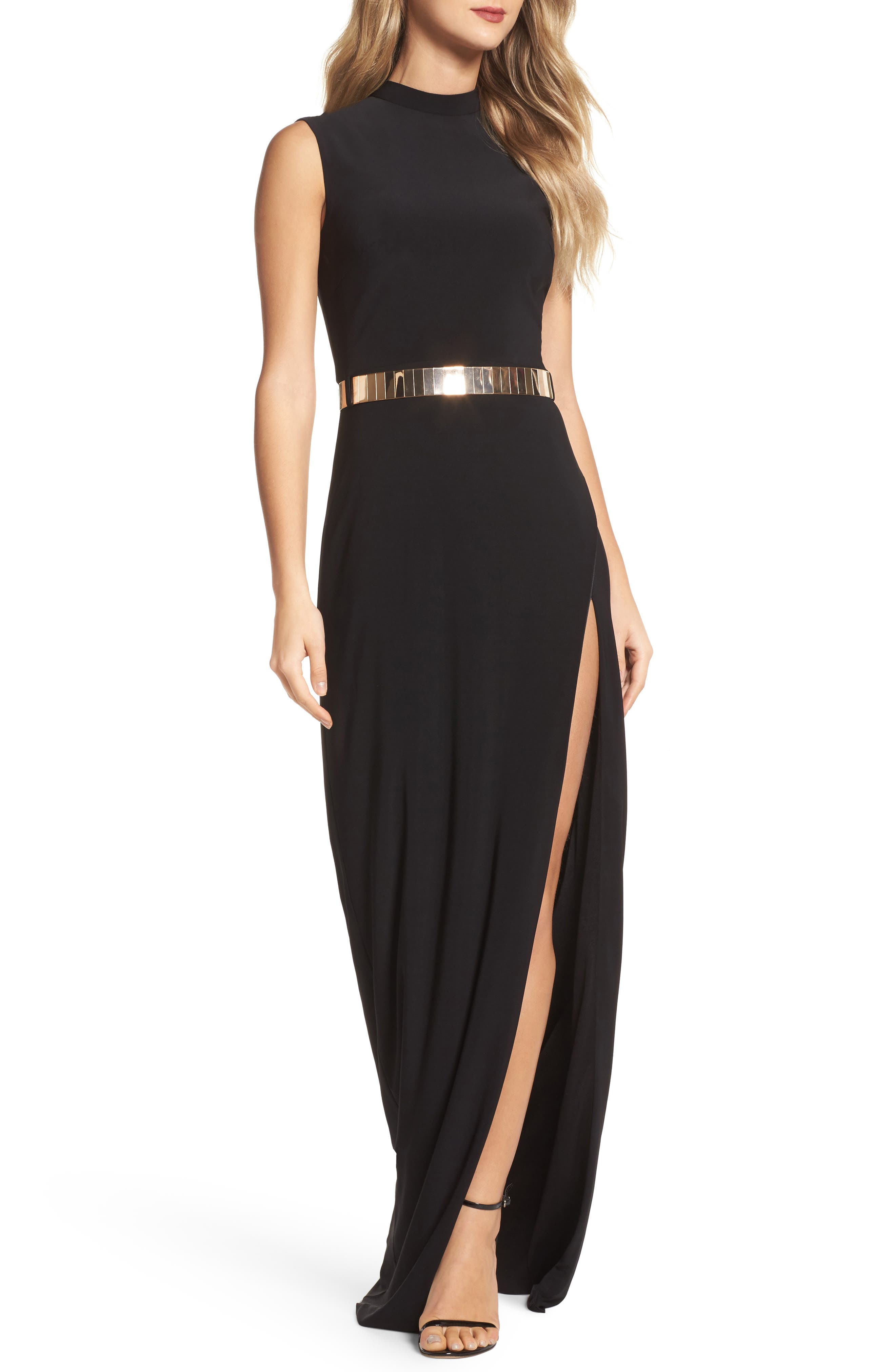 Belted Mock Neck Sheath Gown,                         Main,                         color, 001