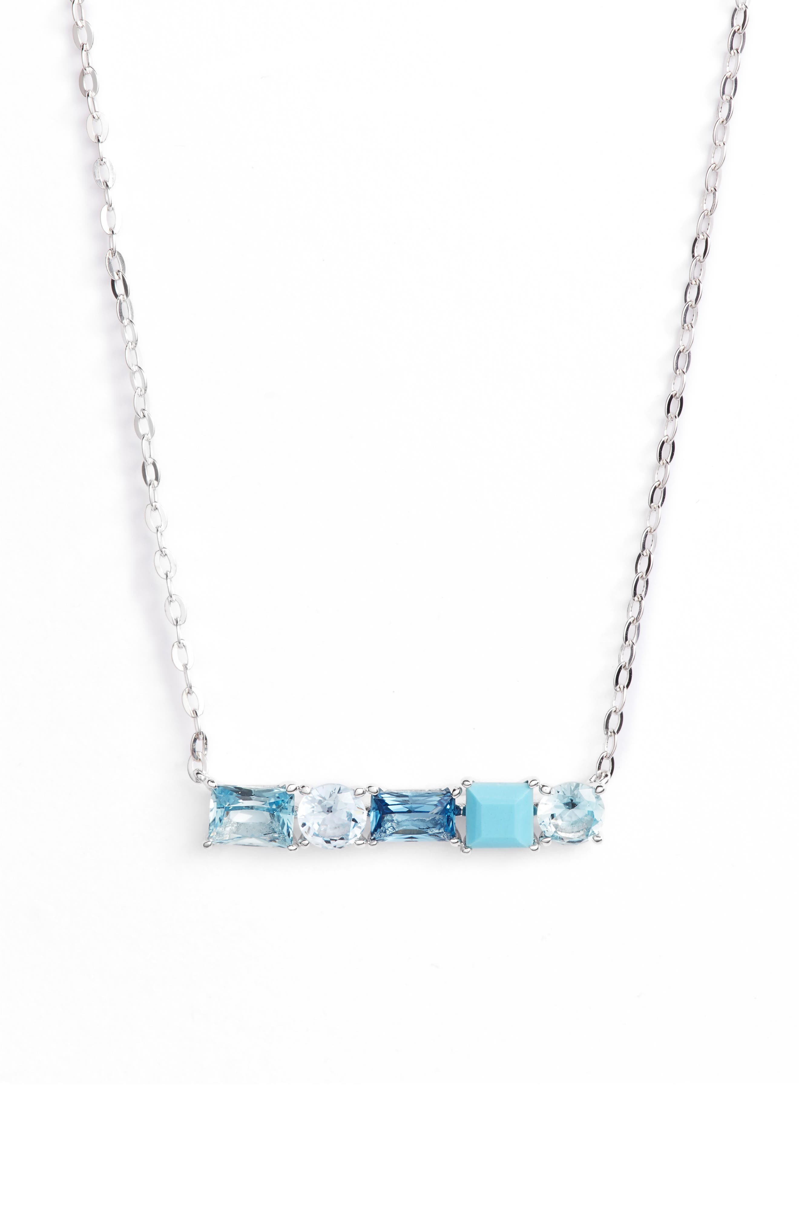 Crystal Bar Pendant Necklace,                         Main,                         color, 040