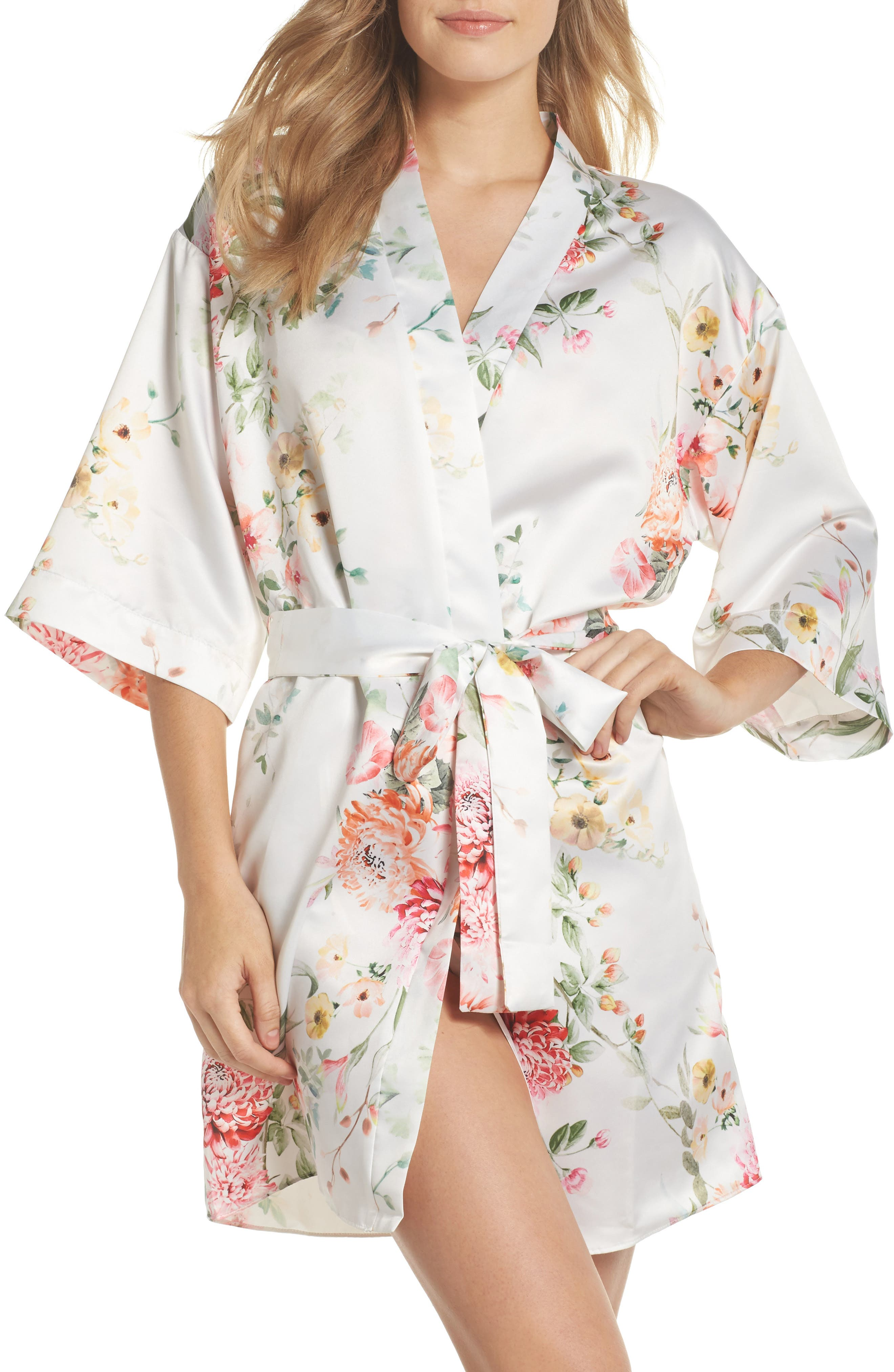Renata Short Satin Robe,                             Main thumbnail 4, color,