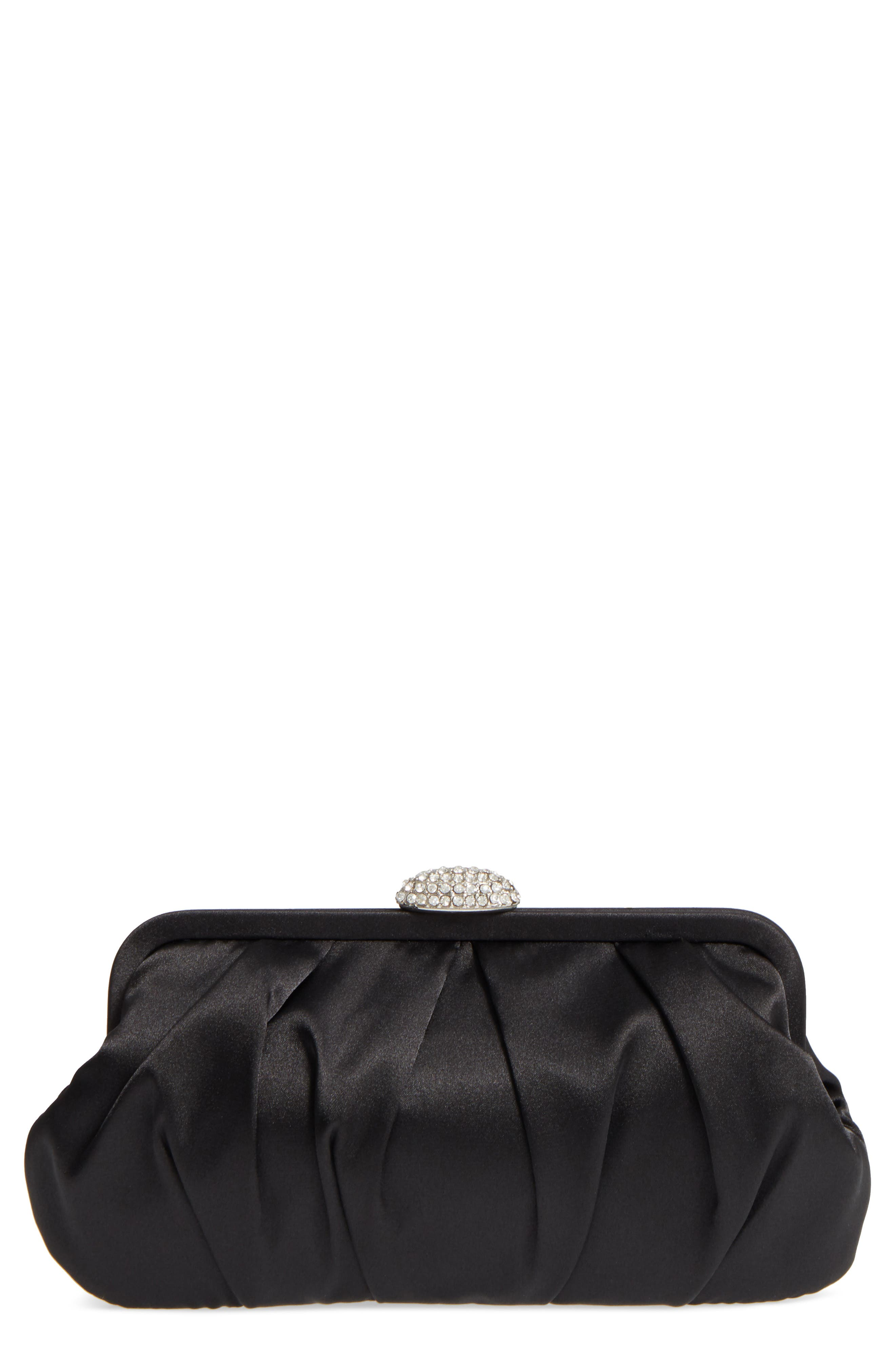 Concord Pleated Satin Frame Clutch,                         Main,                         color, 001