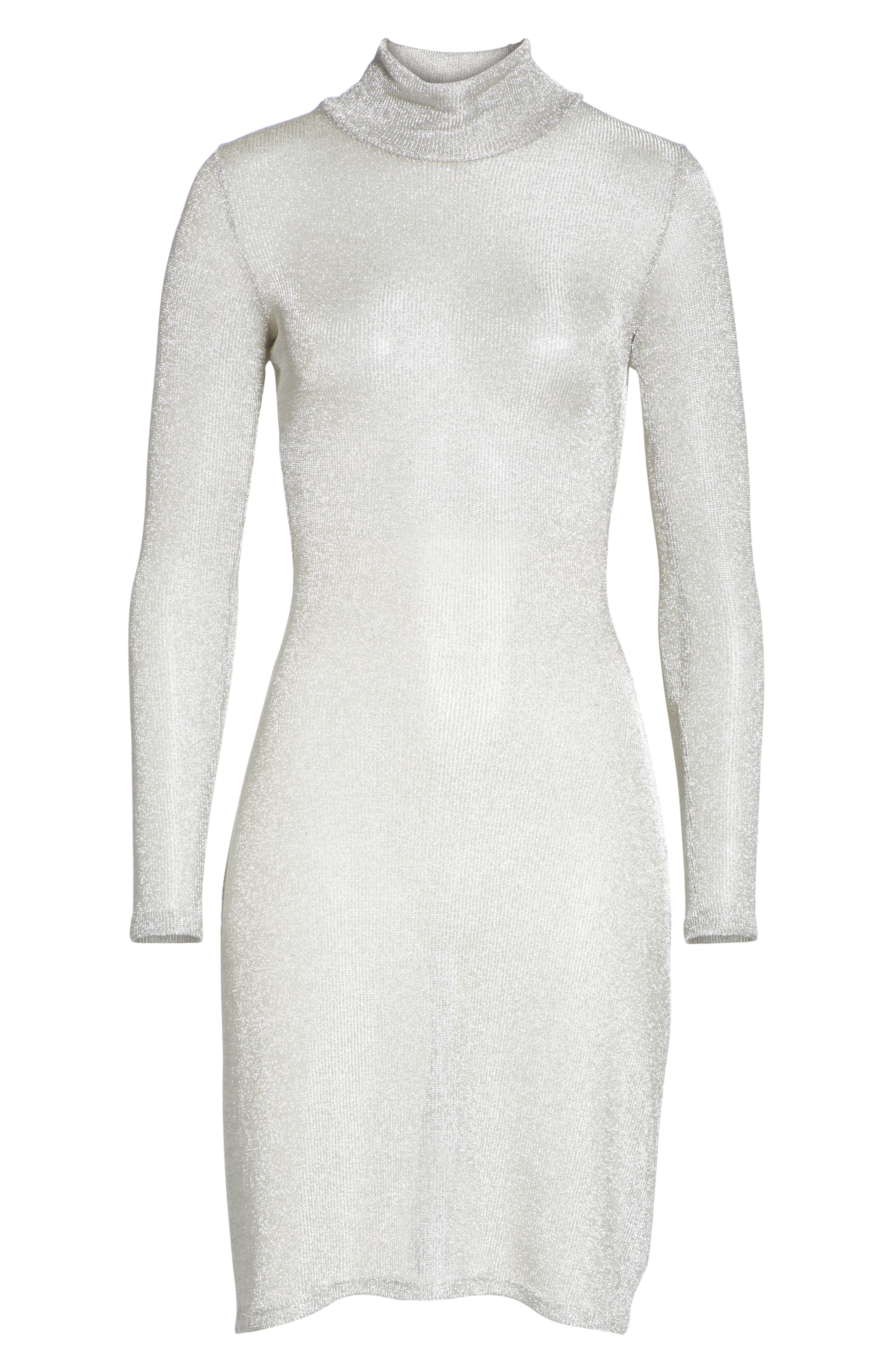 Metallic Rib Turtleneck Dress,                             Alternate thumbnail 8, color,                             SM - SILVER MESH