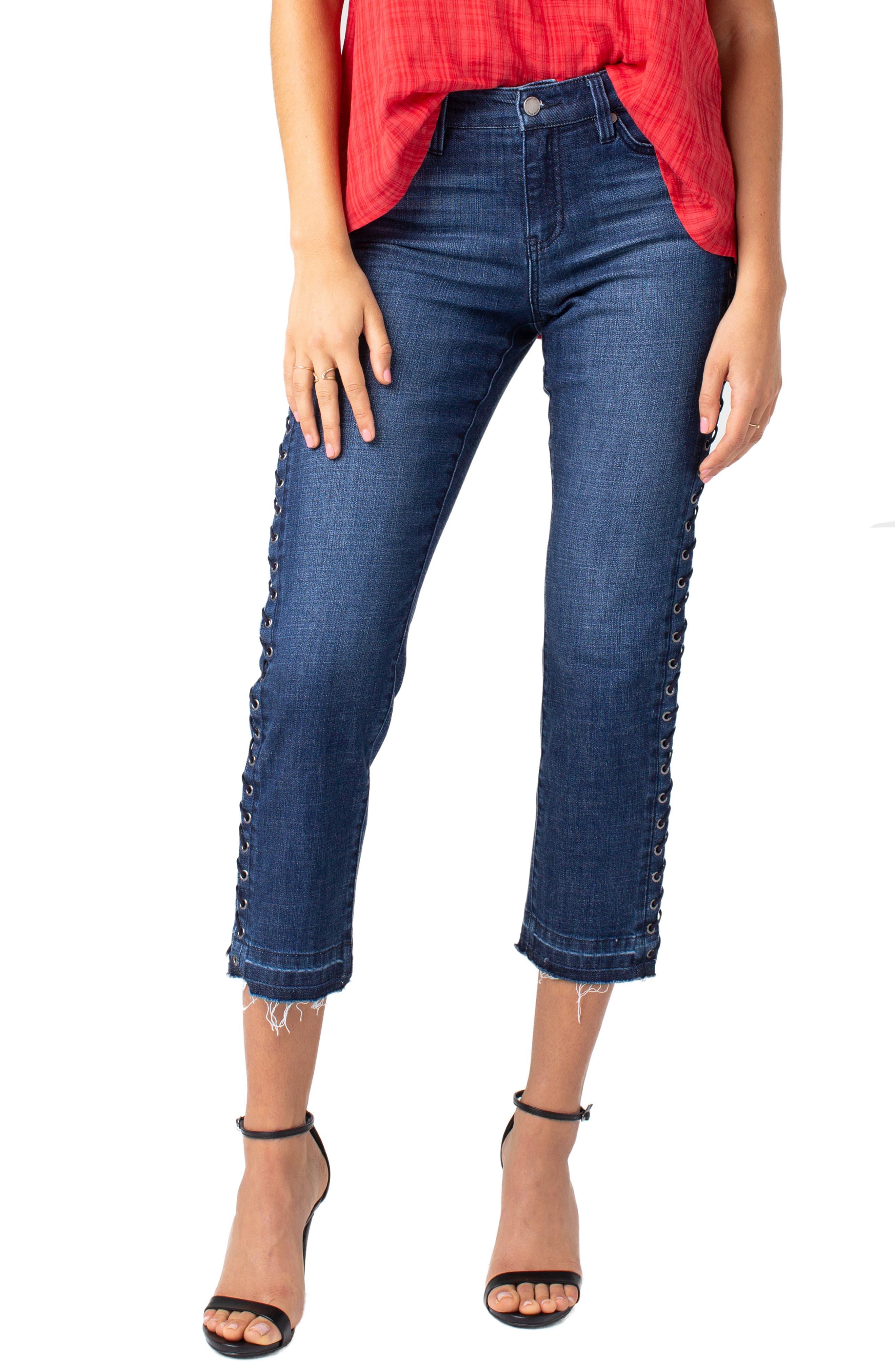 LIVERPOOL Sadie Grommet High Waist Crop Straight Leg Jeans, Main, color, MONTAUK MID BLUE