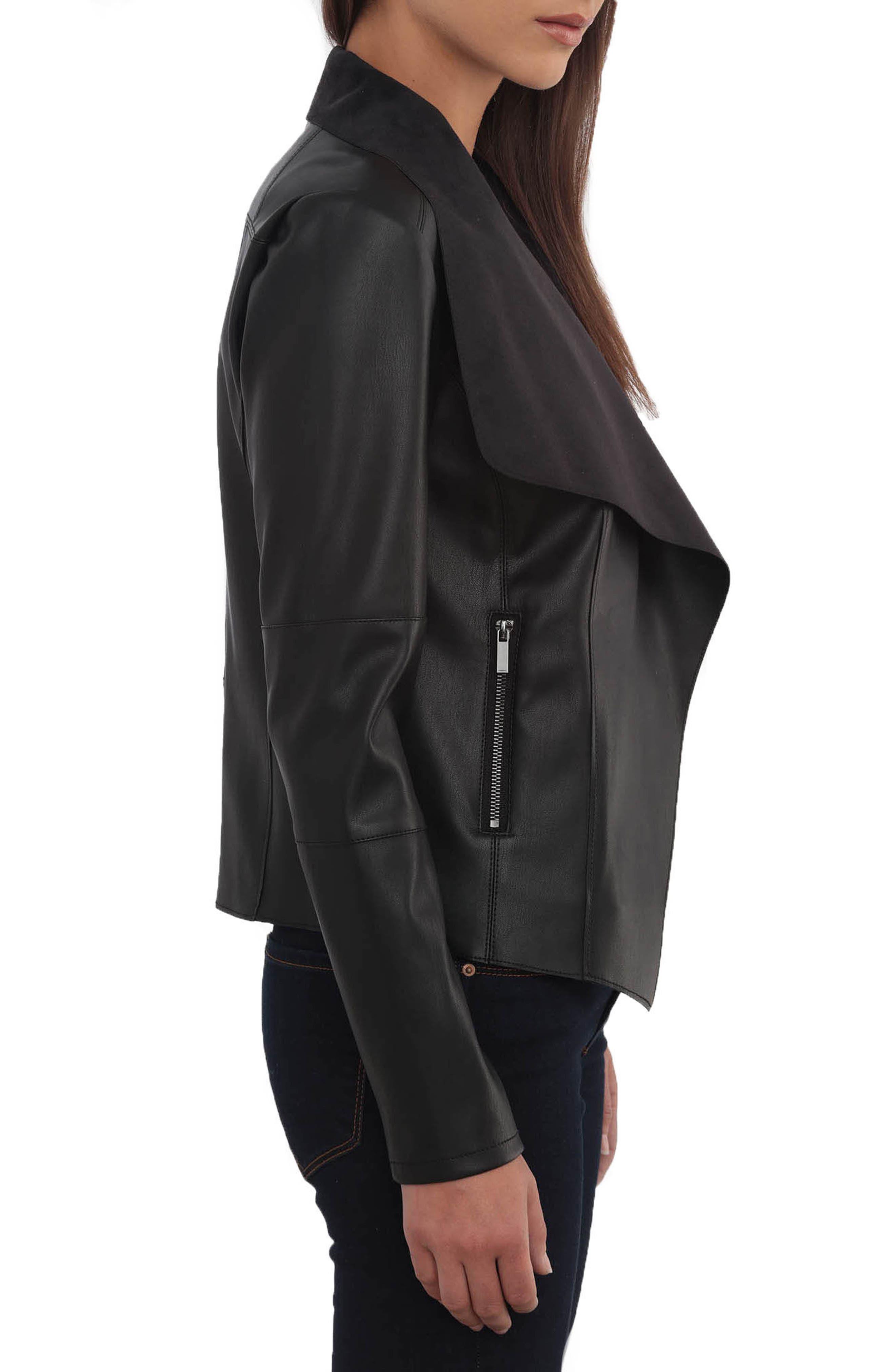 Drape Faux Leather & Faux Suede Jacket,                             Alternate thumbnail 3, color,                             BLACK