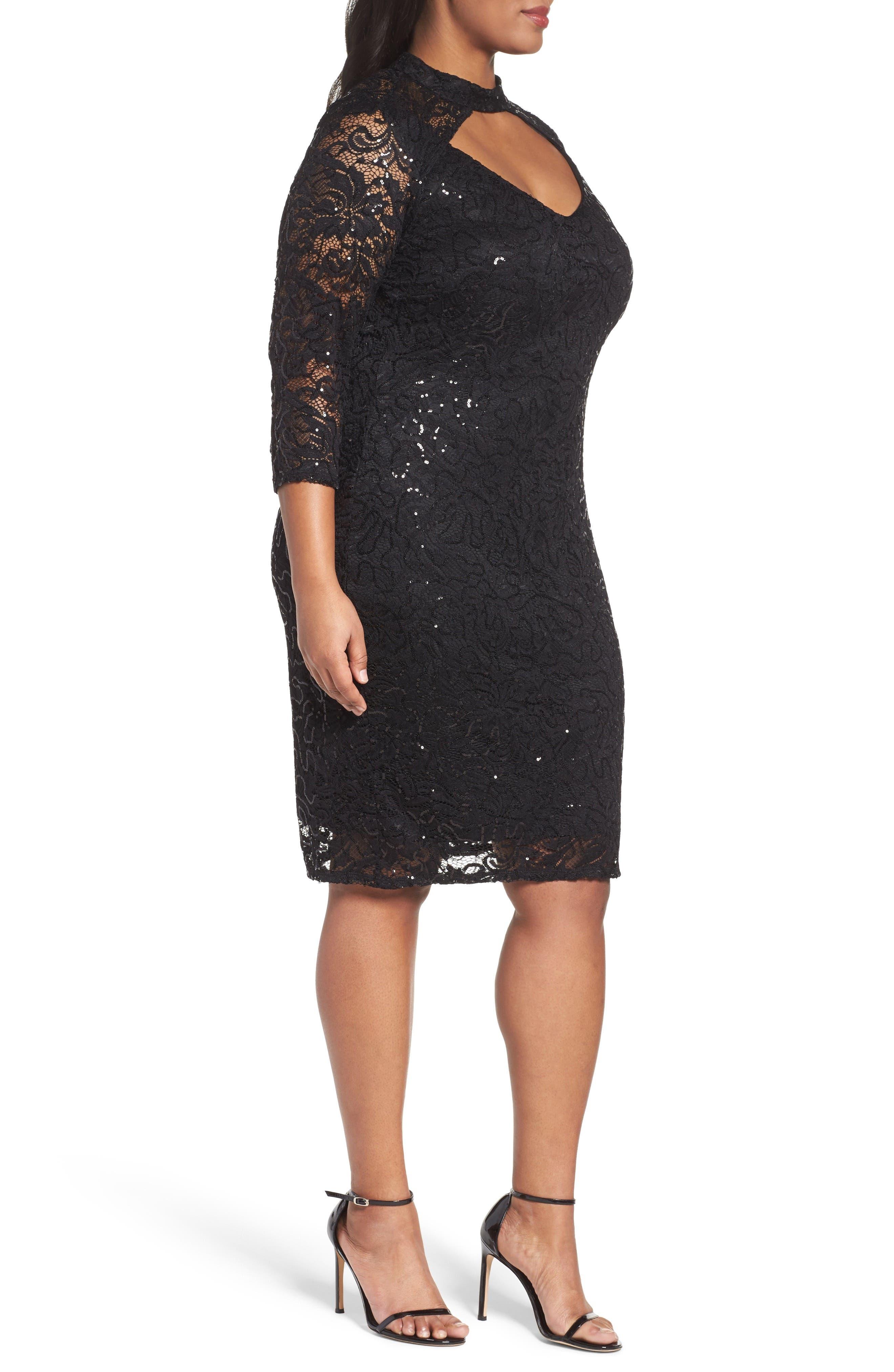 Cutout Sequin Lace Sheath Dress,                             Alternate thumbnail 3, color,                             001