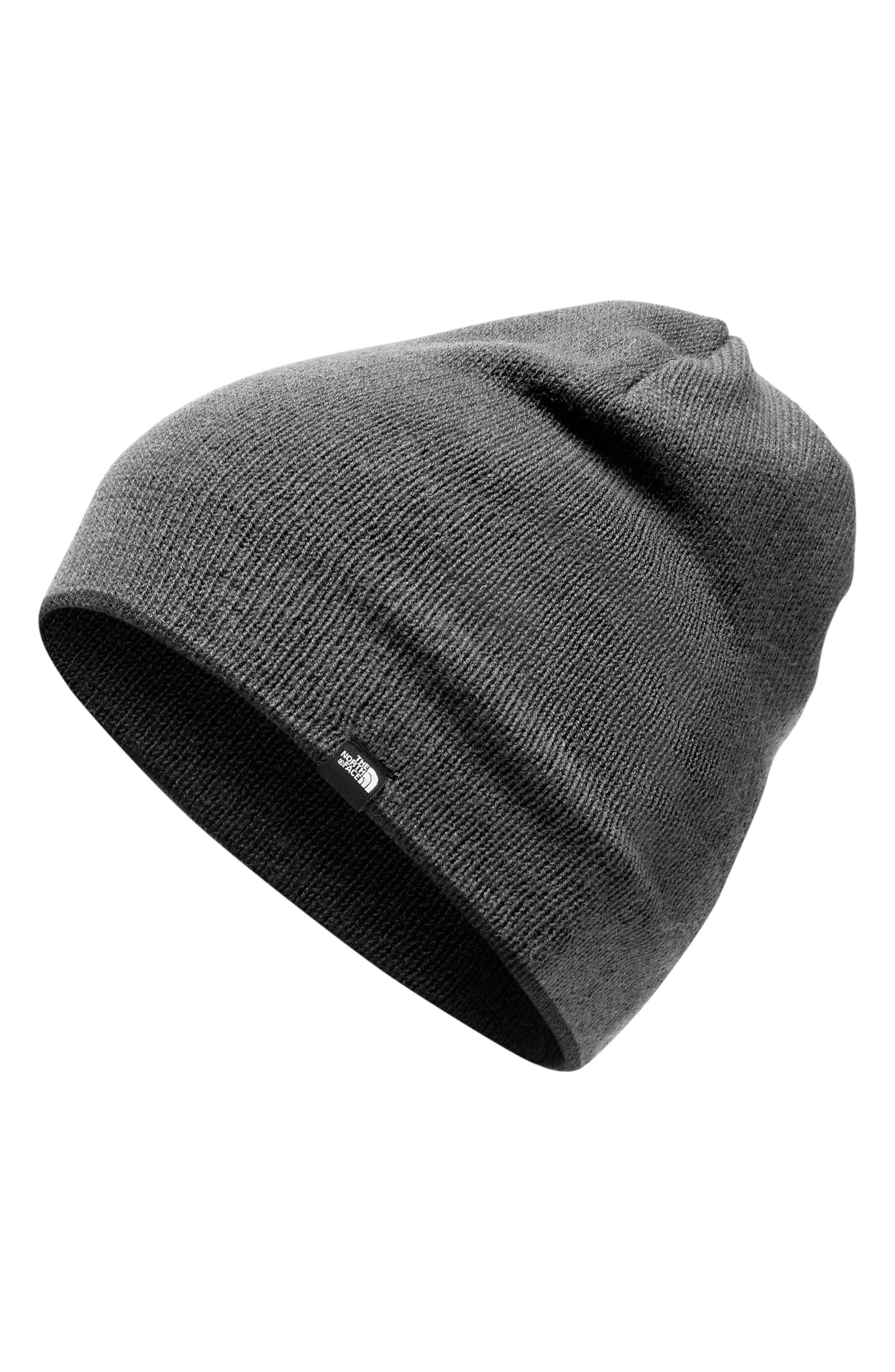 Reversible Merino Wool Beanie,                             Alternate thumbnail 2, color,                             BLACK/DARK GREY HEATHER