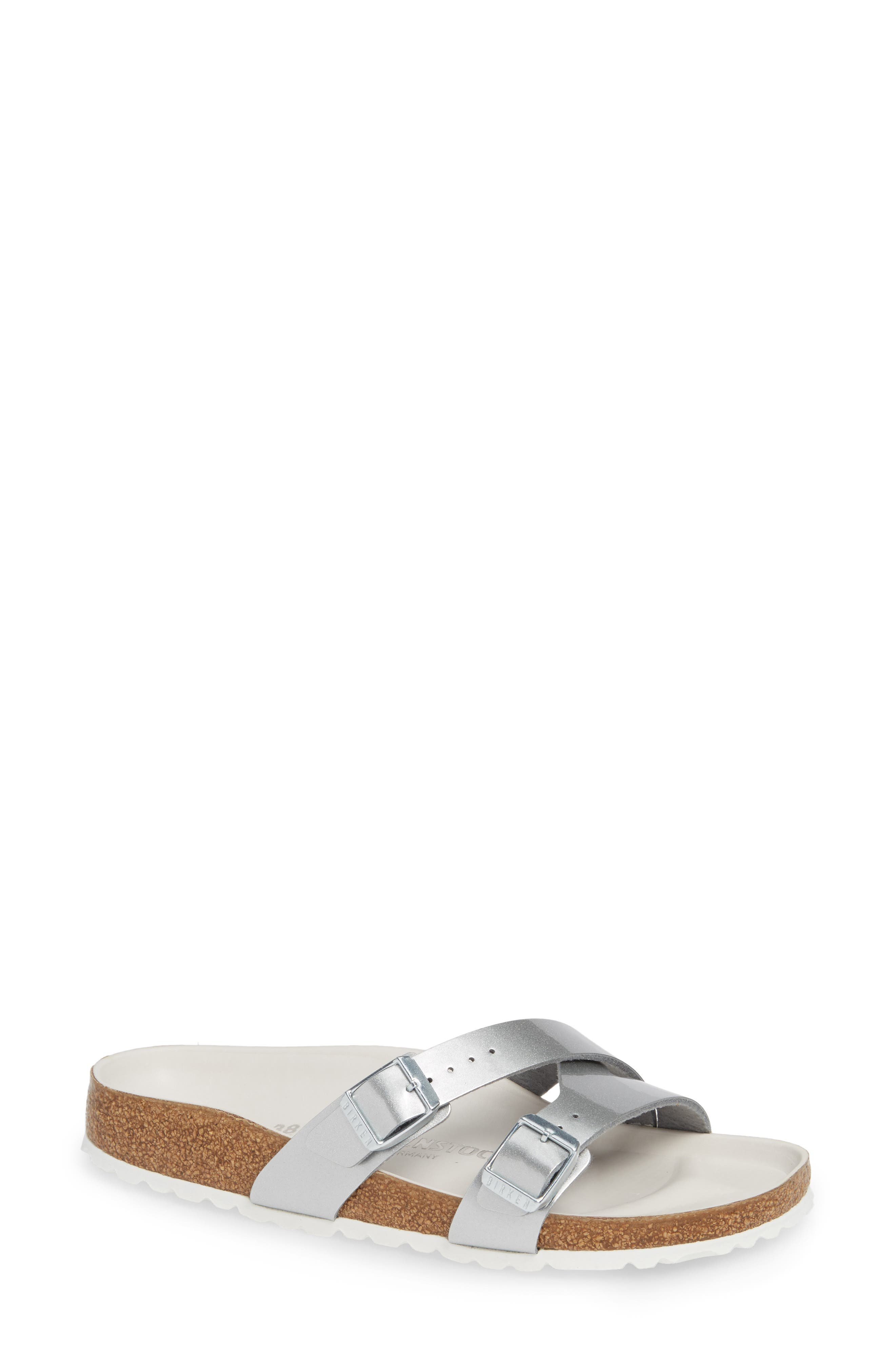 BIRKENSTOCK,                             Yao Metallic Slide Sandal,                             Main thumbnail 1, color,                             METALLIC SILVER