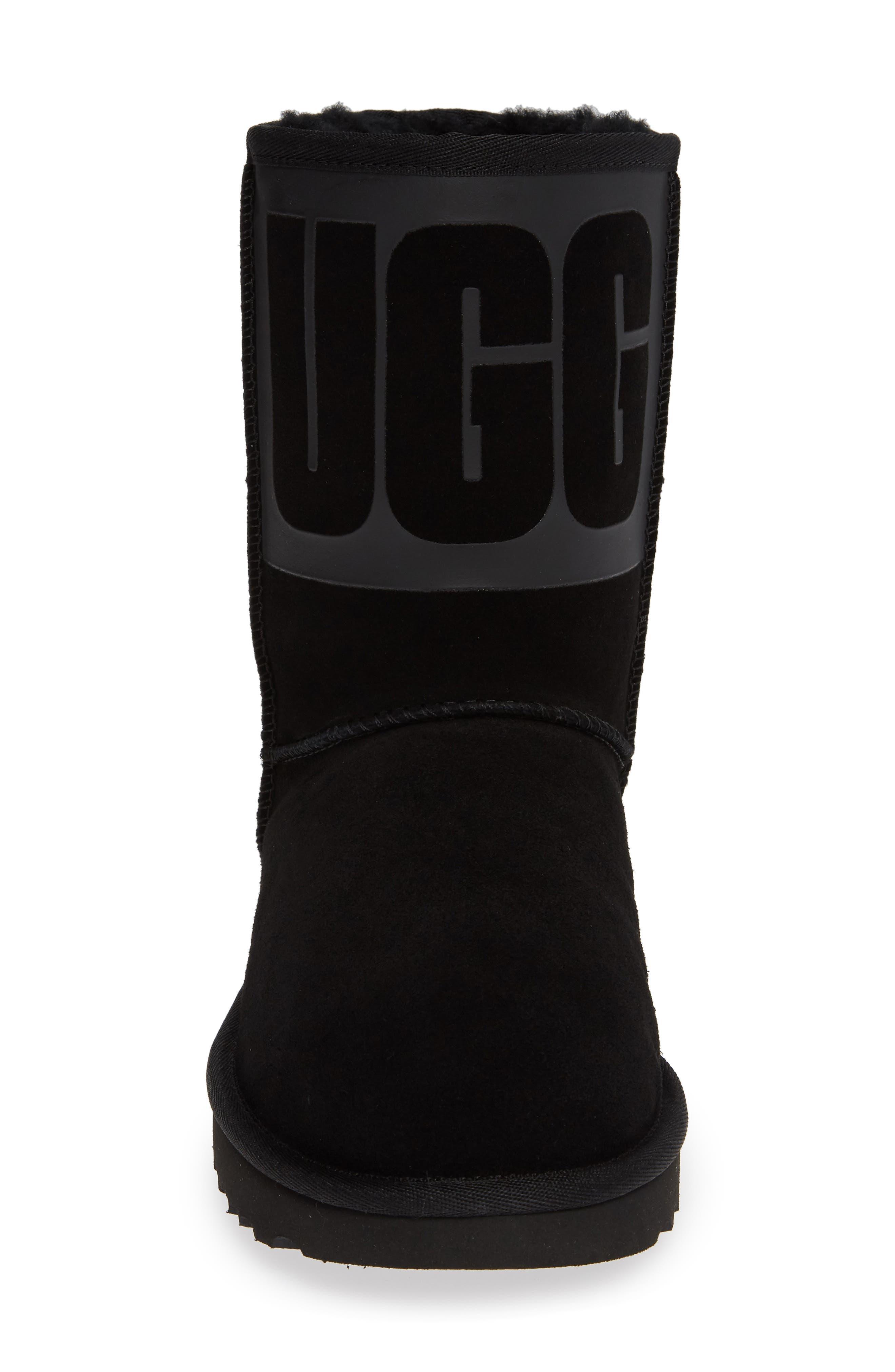 Classic Short Rubber Boot,                             Alternate thumbnail 4, color,                             BLACK