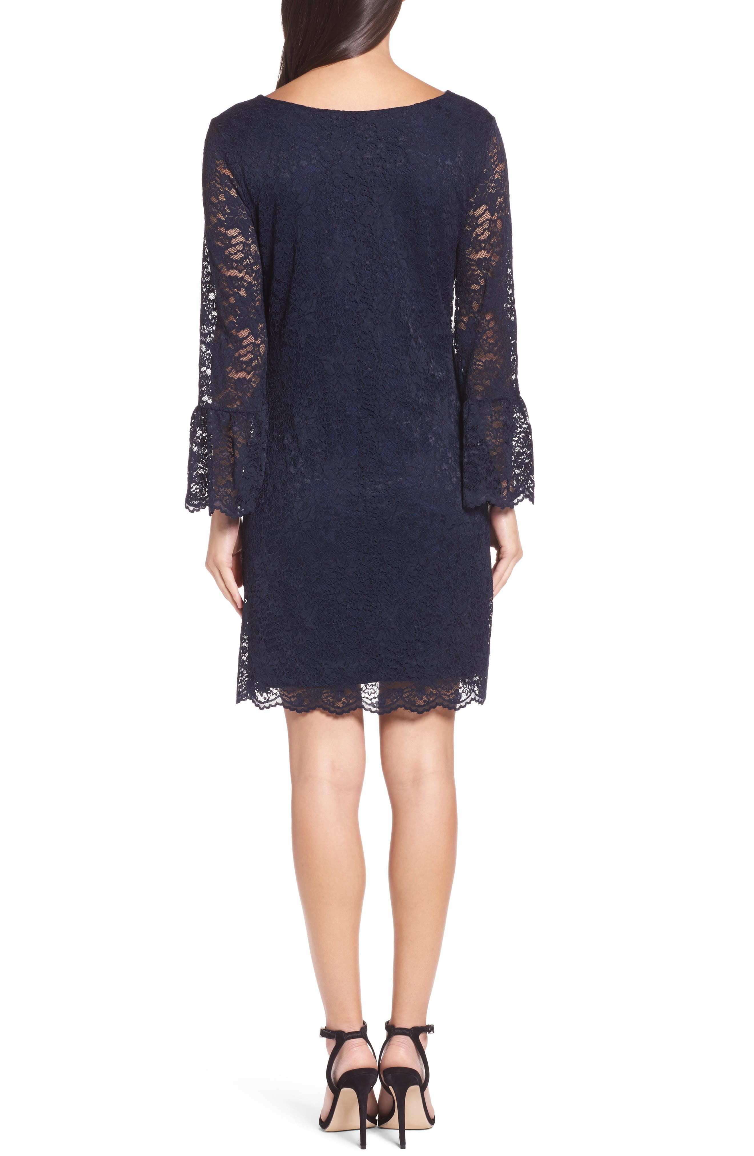 Lace Bell Sleeve Shift Dress,                             Alternate thumbnail 2, color,                             410