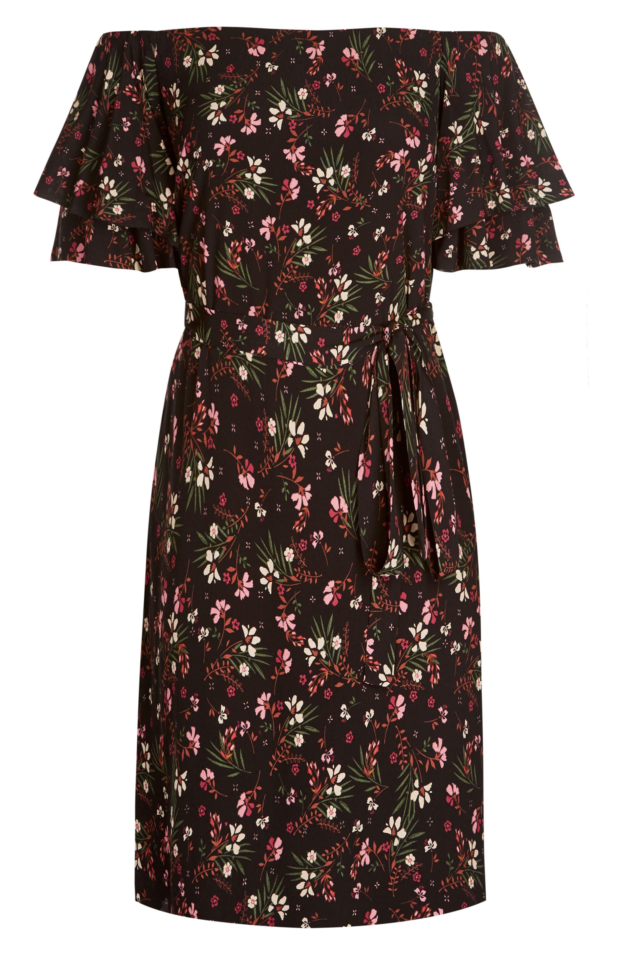 Fresh Floral Off the Shoulder Dress,                             Alternate thumbnail 3, color,                             FRESH FLORAL
