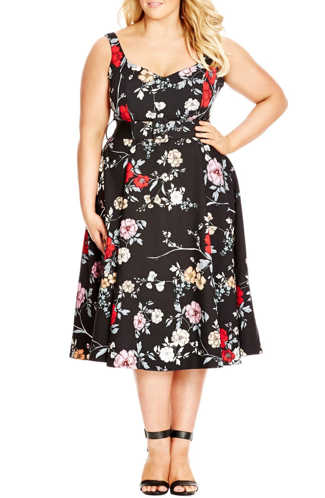 Belted Floral Fit & Flare Dress,                             Main thumbnail 1, color,