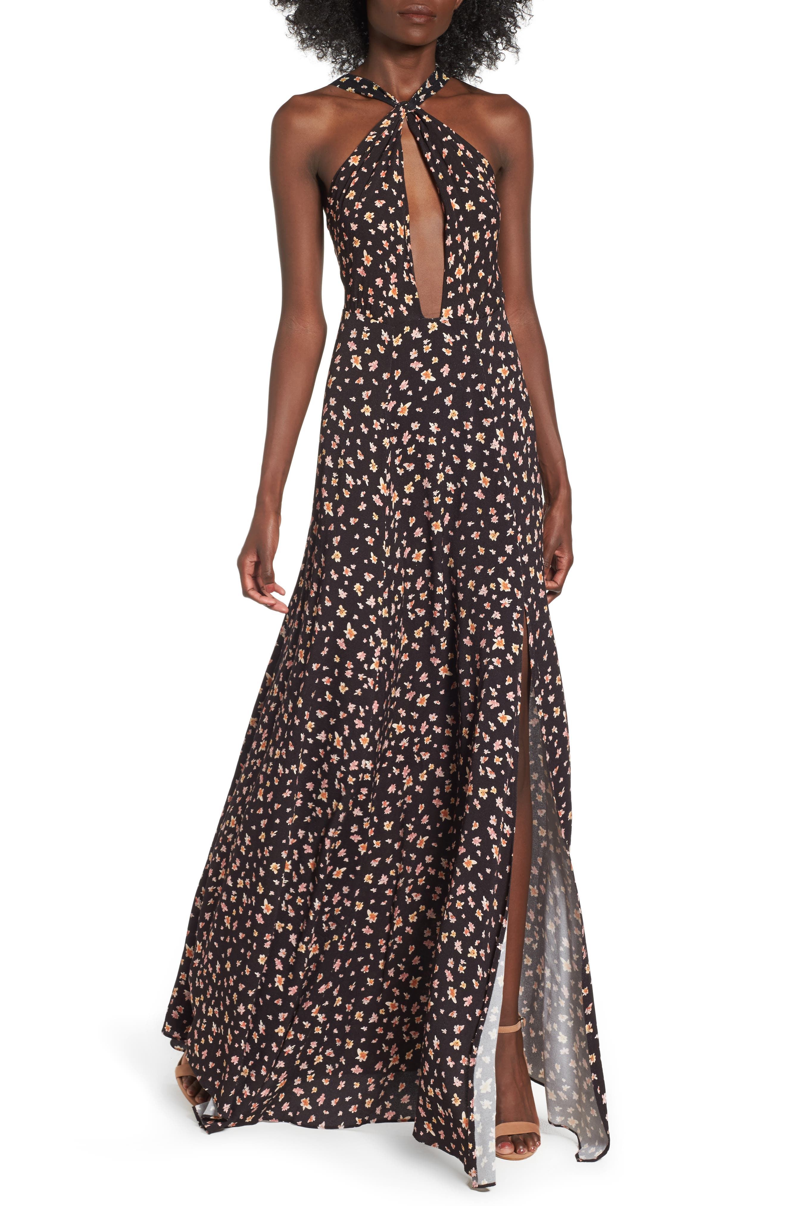 Harlean Halter Maxi Dress,                             Main thumbnail 1, color,                             010