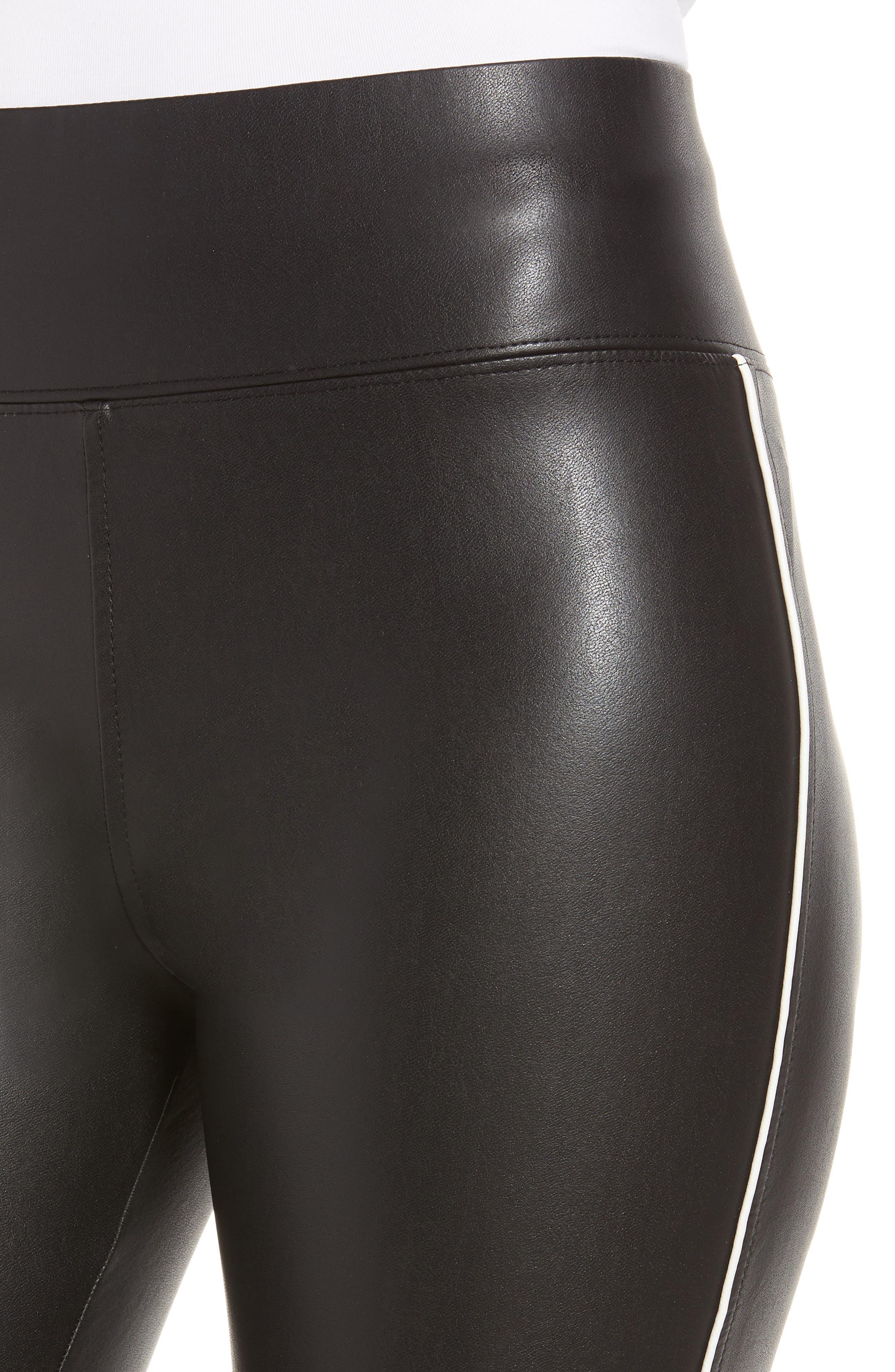 Gemma Faux Leather Skimmer Pants,                             Alternate thumbnail 4, color,                             BLACK