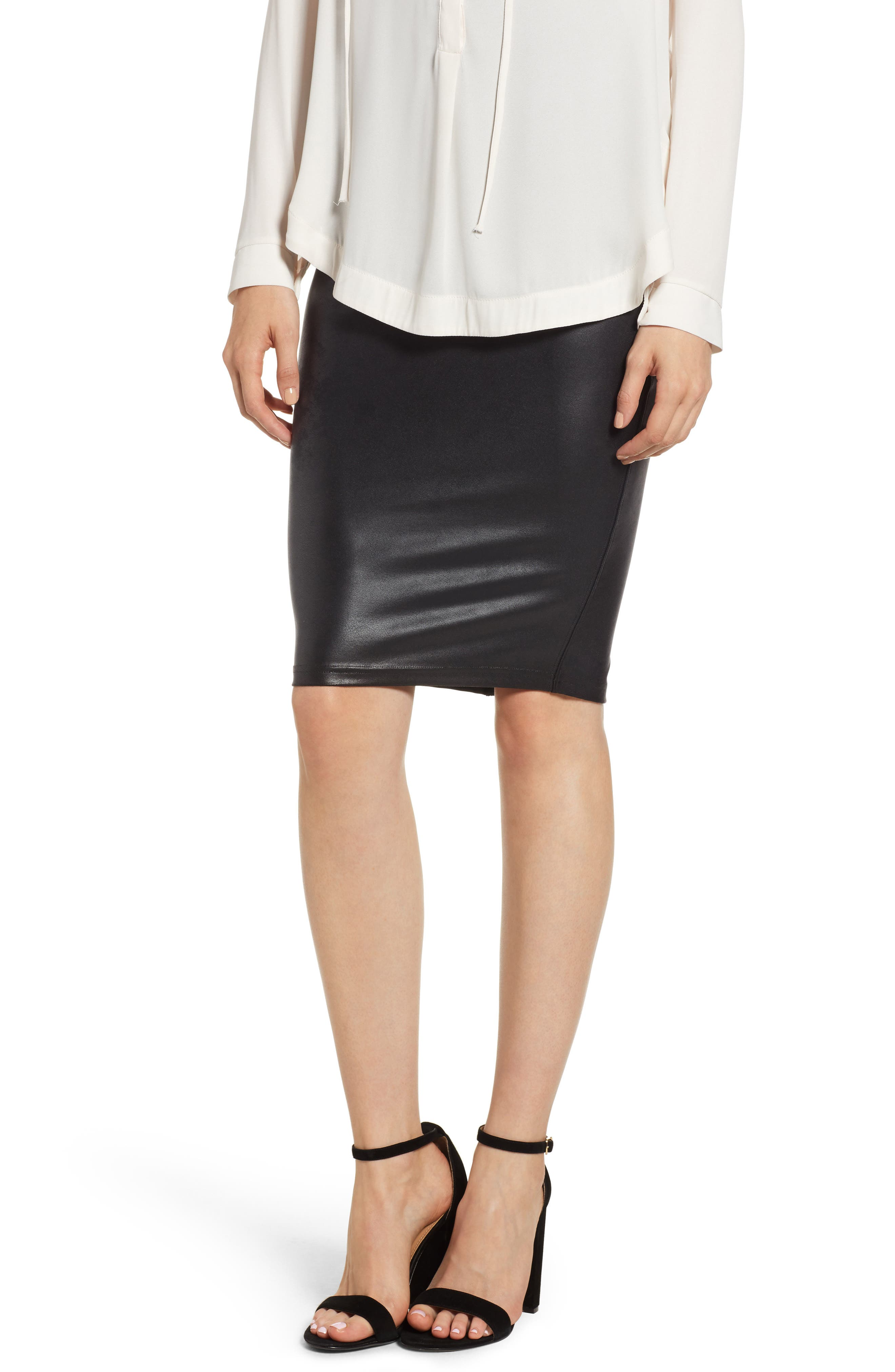Faux Leather Pencil Skirt,                             Main thumbnail 1, color,                             VERY BLACK