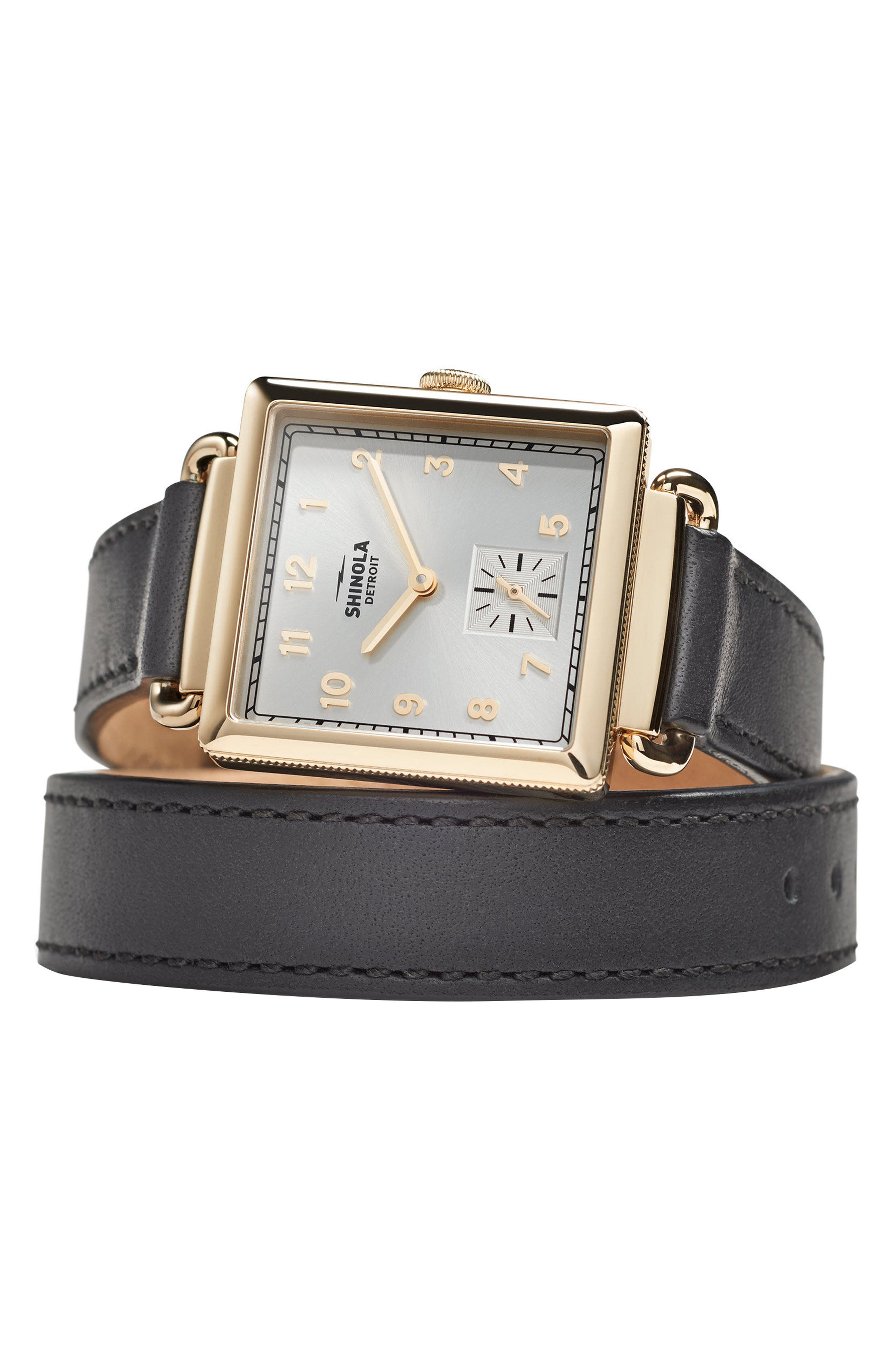 Cass Leather Strap Watch, 28mm,                             Alternate thumbnail 3, color,                             001