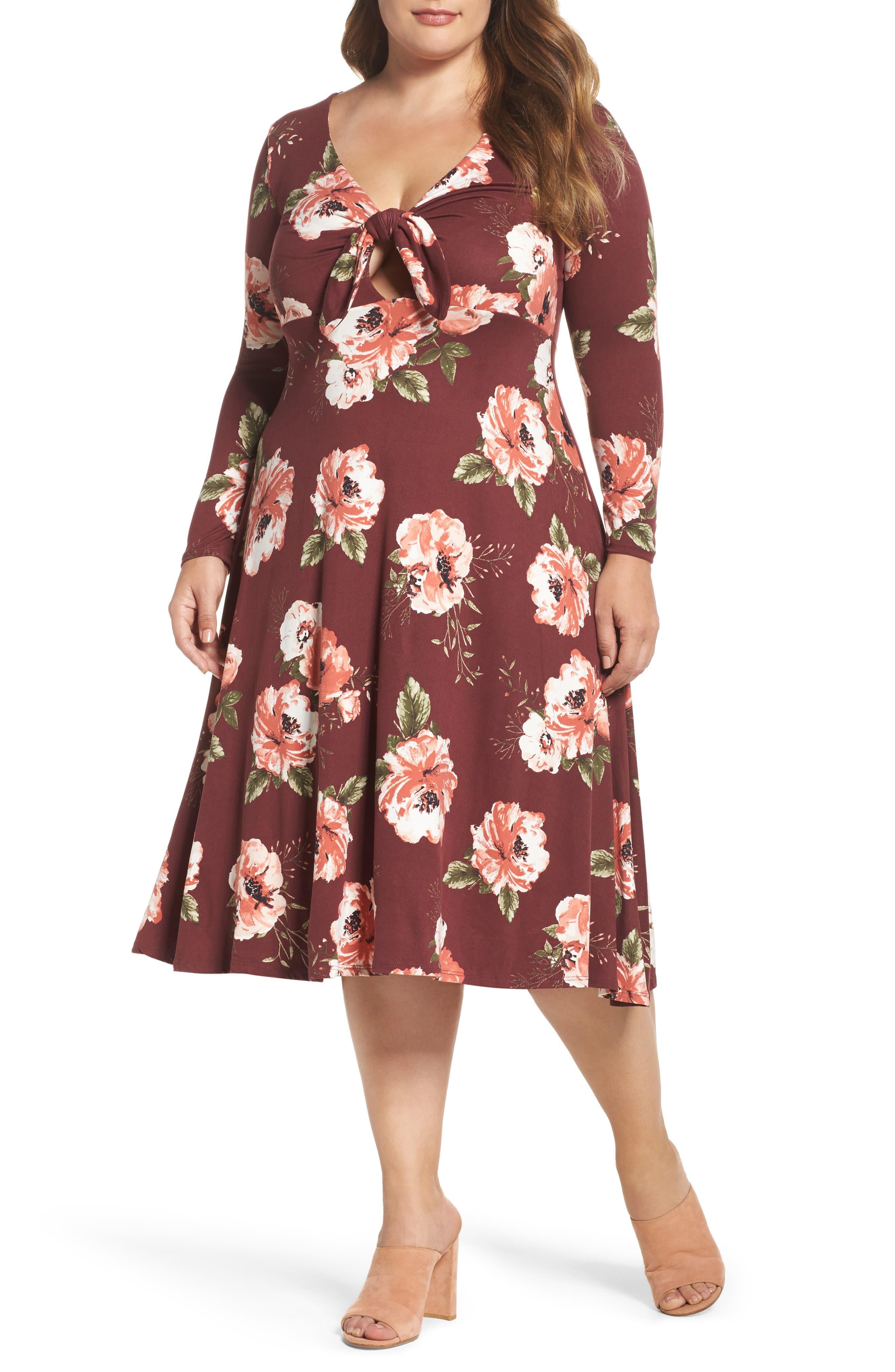 Plunging Floral Midi Dress,                             Main thumbnail 2, color,