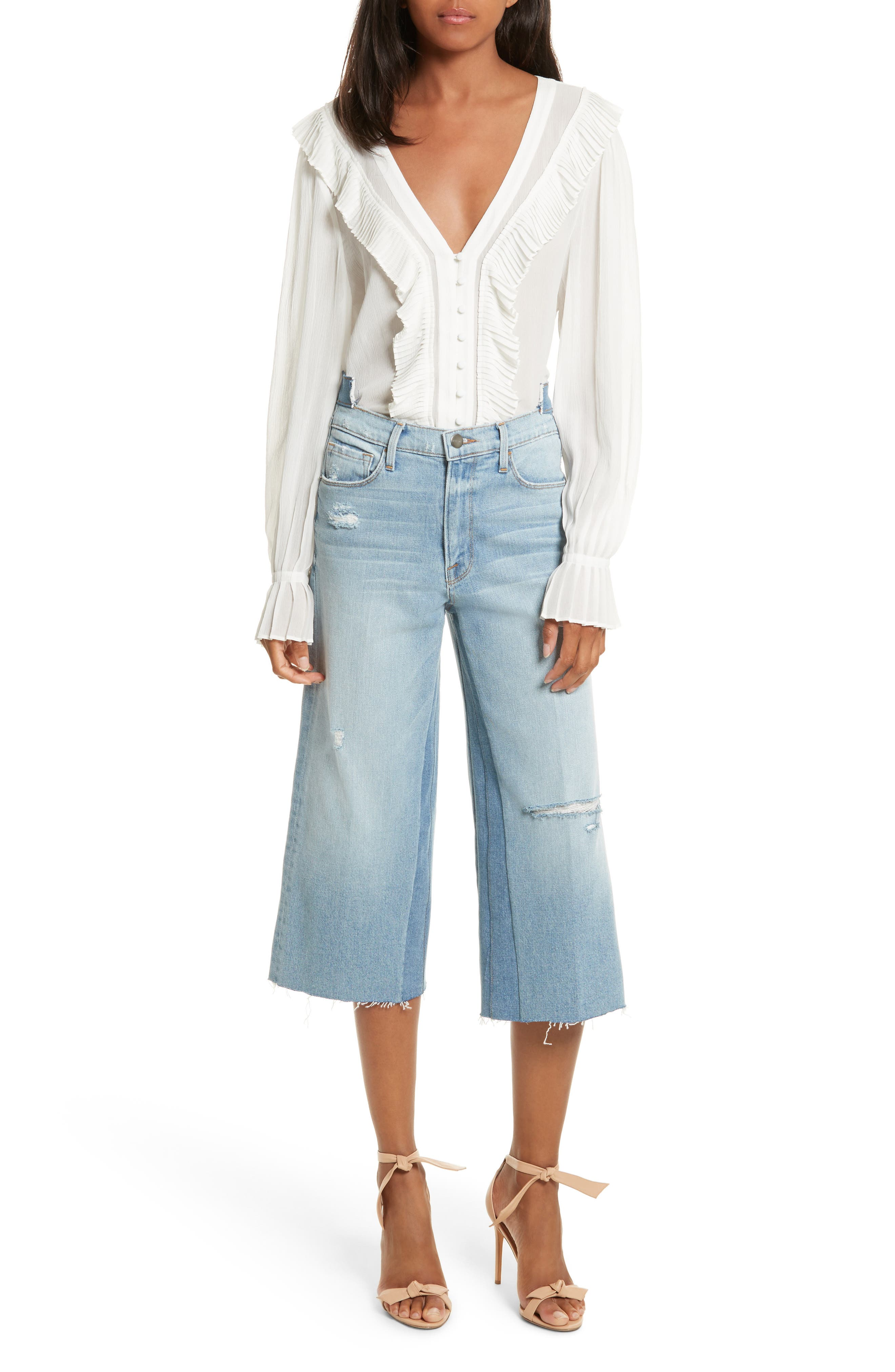Le Reconstructed High Waist Crop Wide Leg Jeans,                             Alternate thumbnail 7, color,                             451