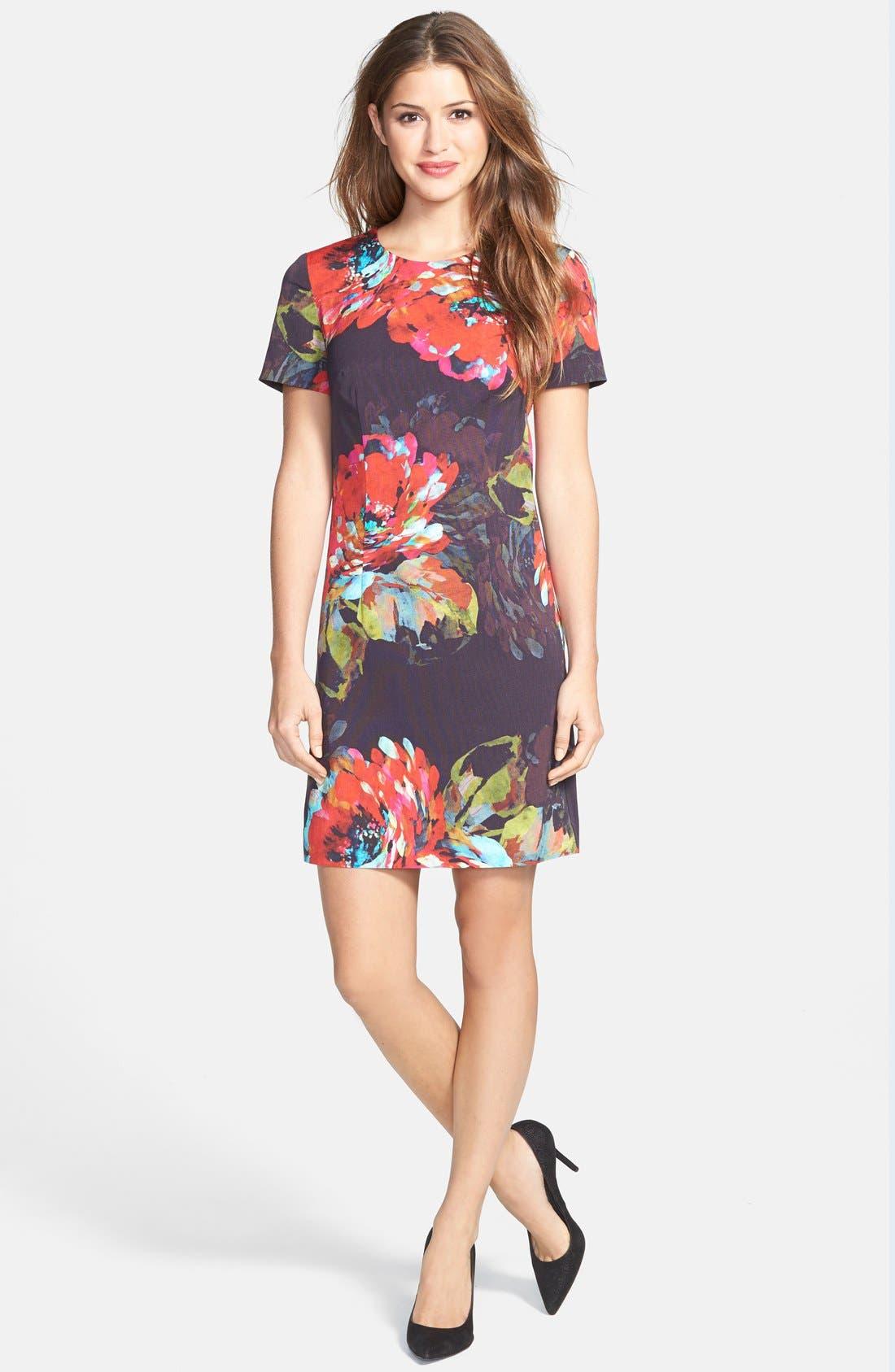 'Natasha' Flower Print Faille A-Line Dress,                             Alternate thumbnail 3, color,                             001
