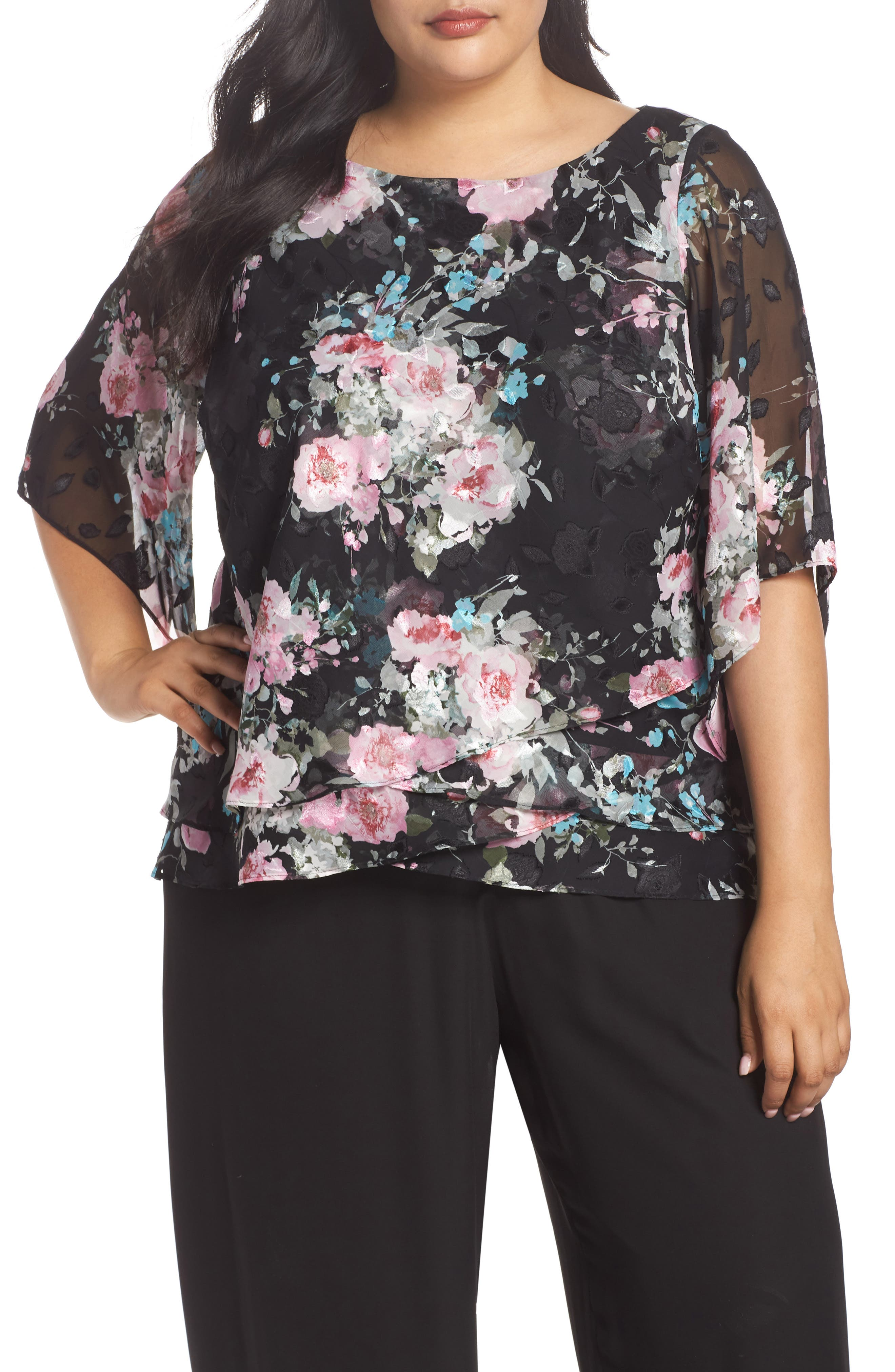 ALEX EVENINGS,                             Burnout Floral Blouse,                             Main thumbnail 1, color,                             015