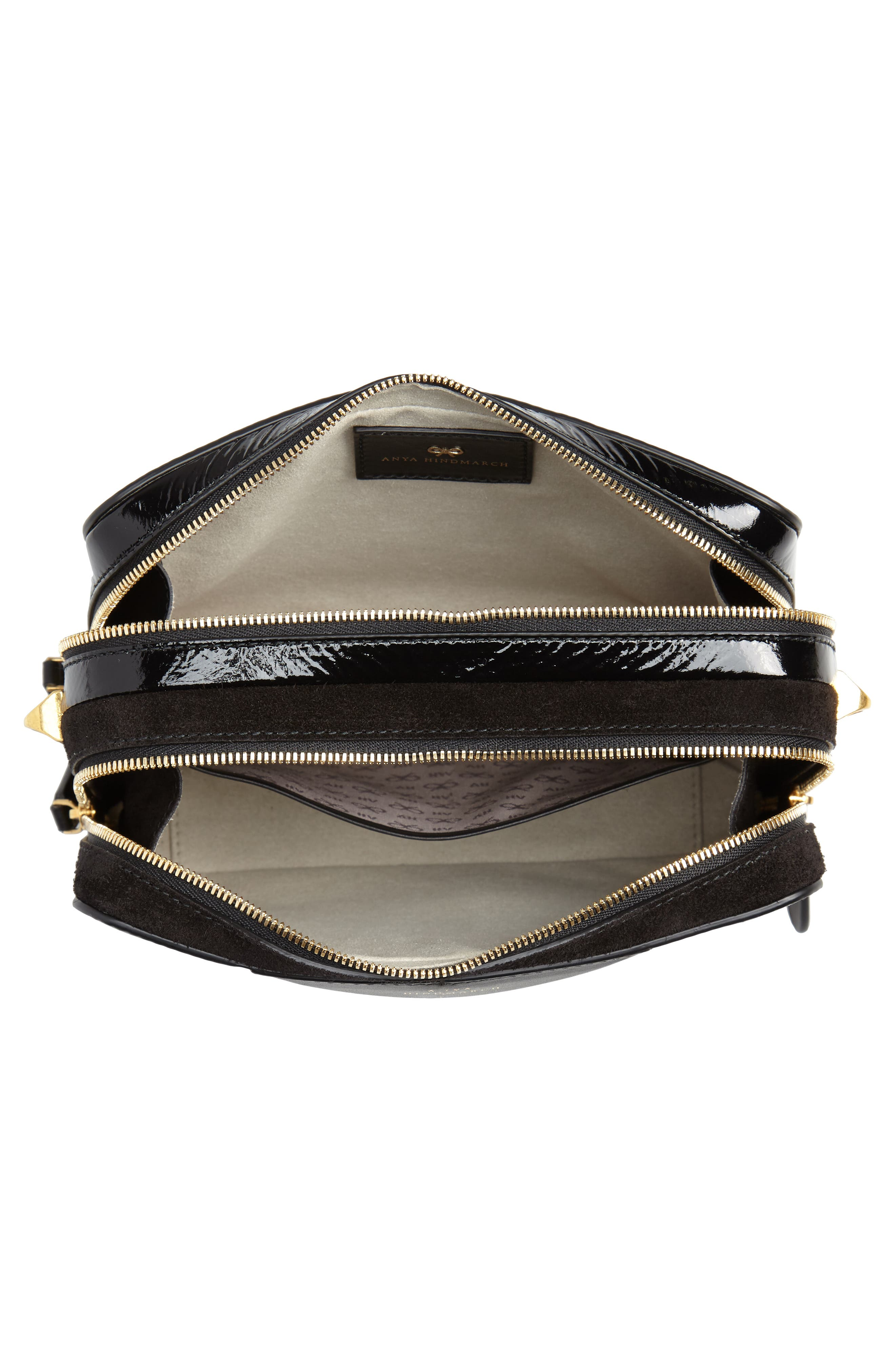 The Double Stack Leather Crossbody Bag,                             Alternate thumbnail 4, color,                             001