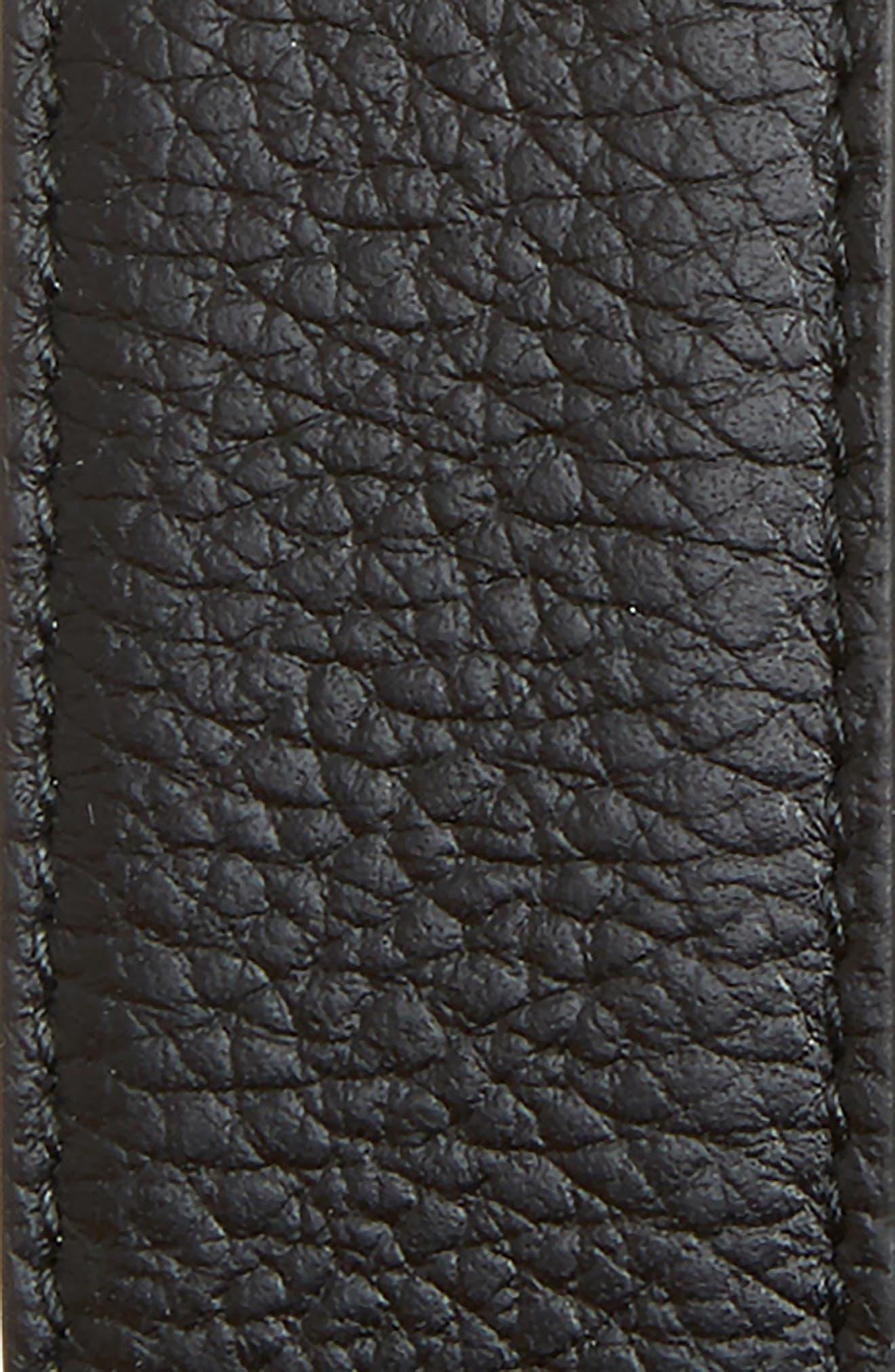 Plate Buckle Reversible Leather Belt,                             Alternate thumbnail 2, color,                             BLACK