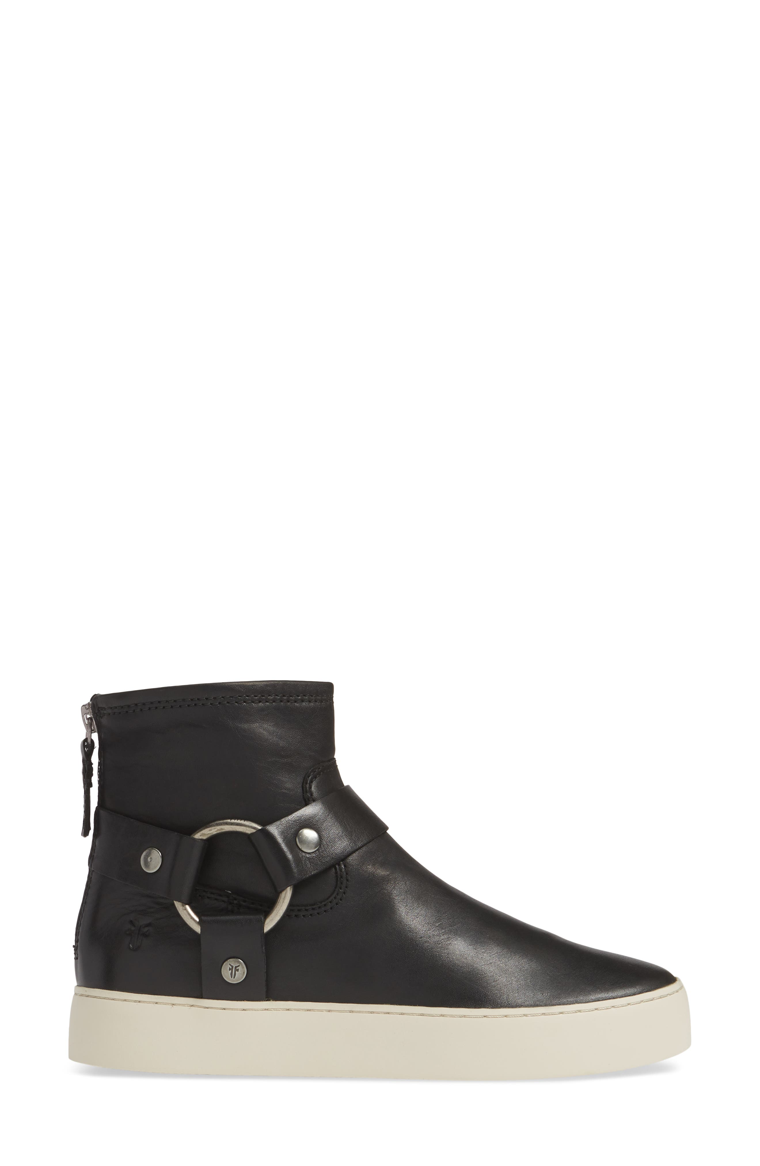 FRYE,                             Lena Harness Bootie,                             Alternate thumbnail 3, color,                             BLACK LEATHER