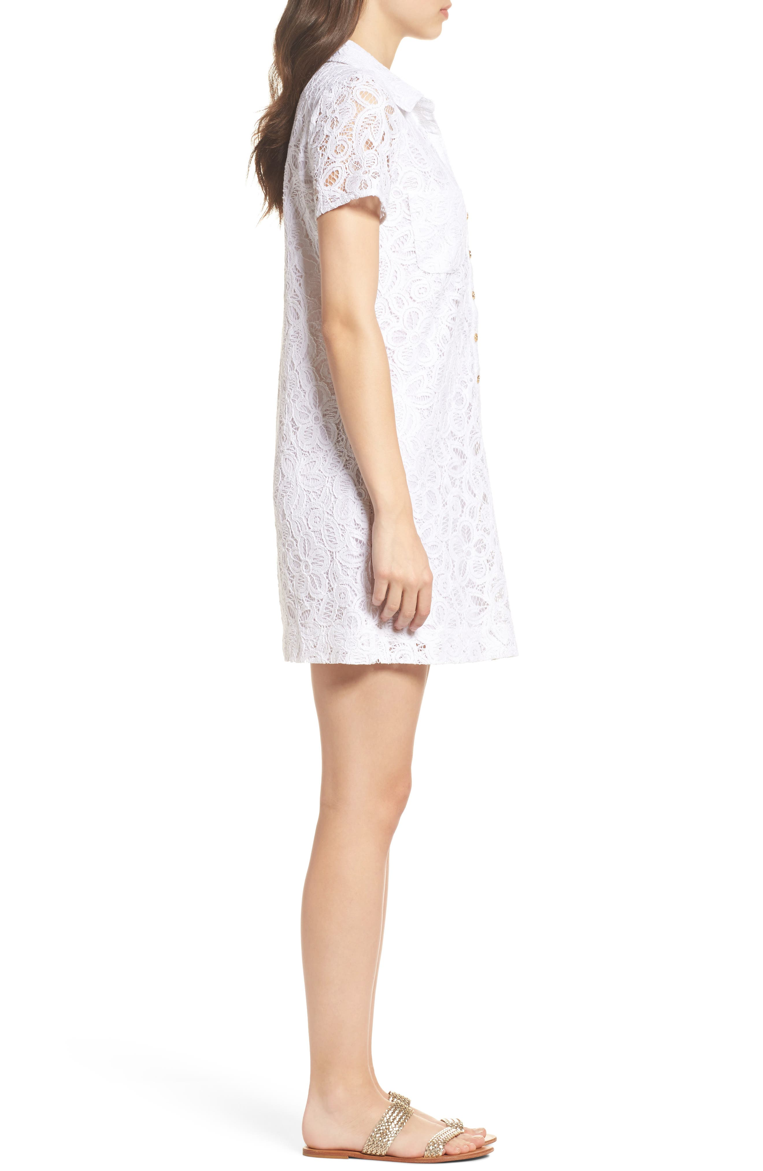 Nelle Lace Shirtdress,                             Alternate thumbnail 3, color,