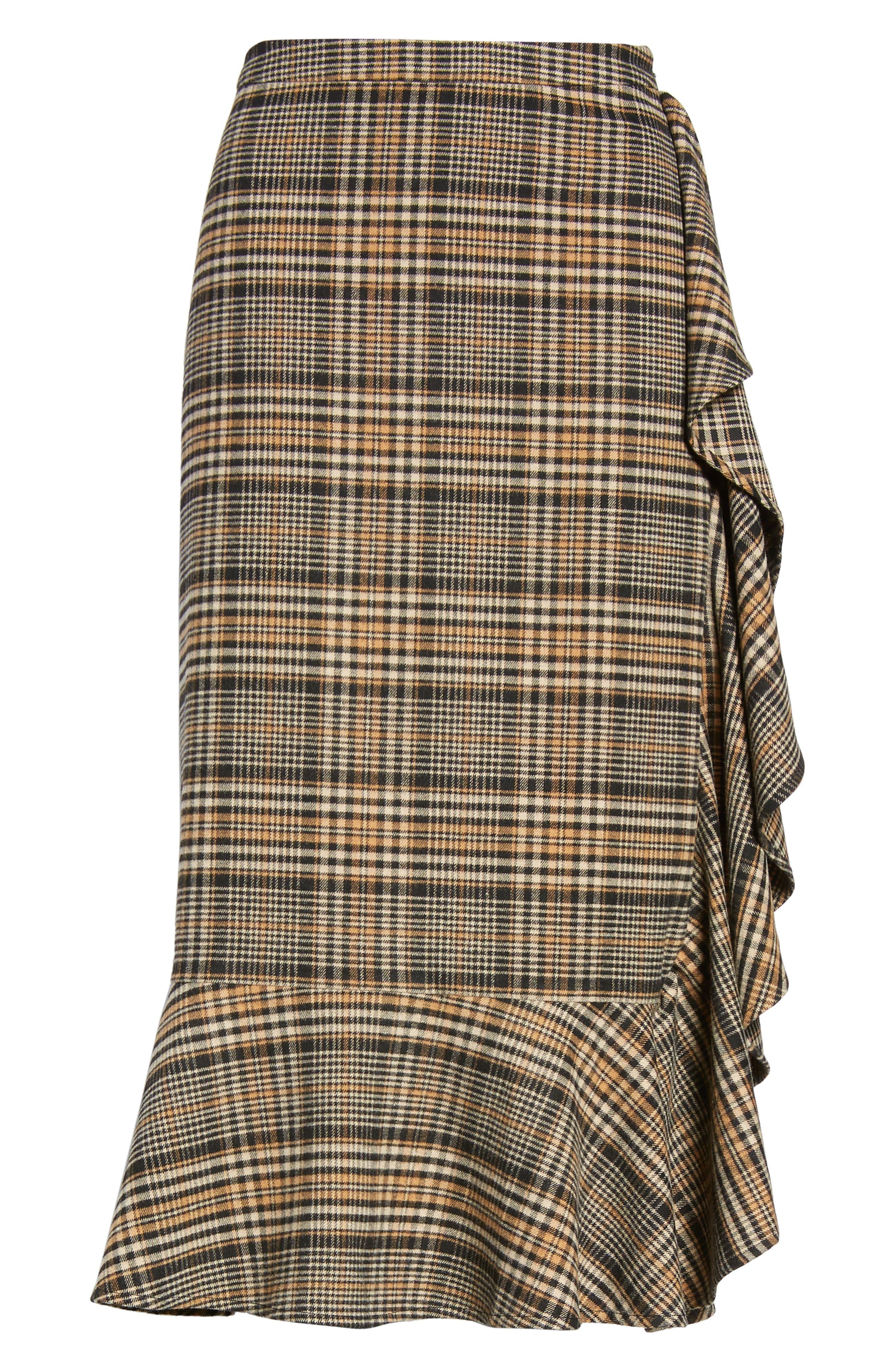 Ruffle Plaid Midi Skirt,                             Alternate thumbnail 6, color,